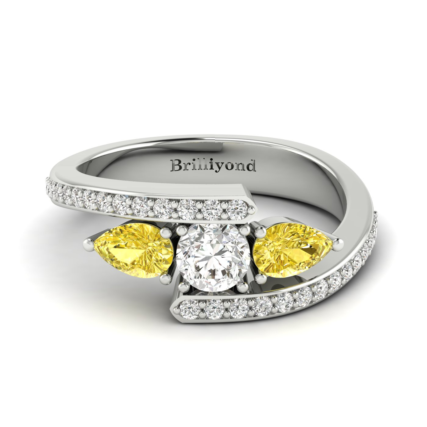 Diamond Yellow Sapphire Platinum Colour Accented Engagement Ring Naiad_image1