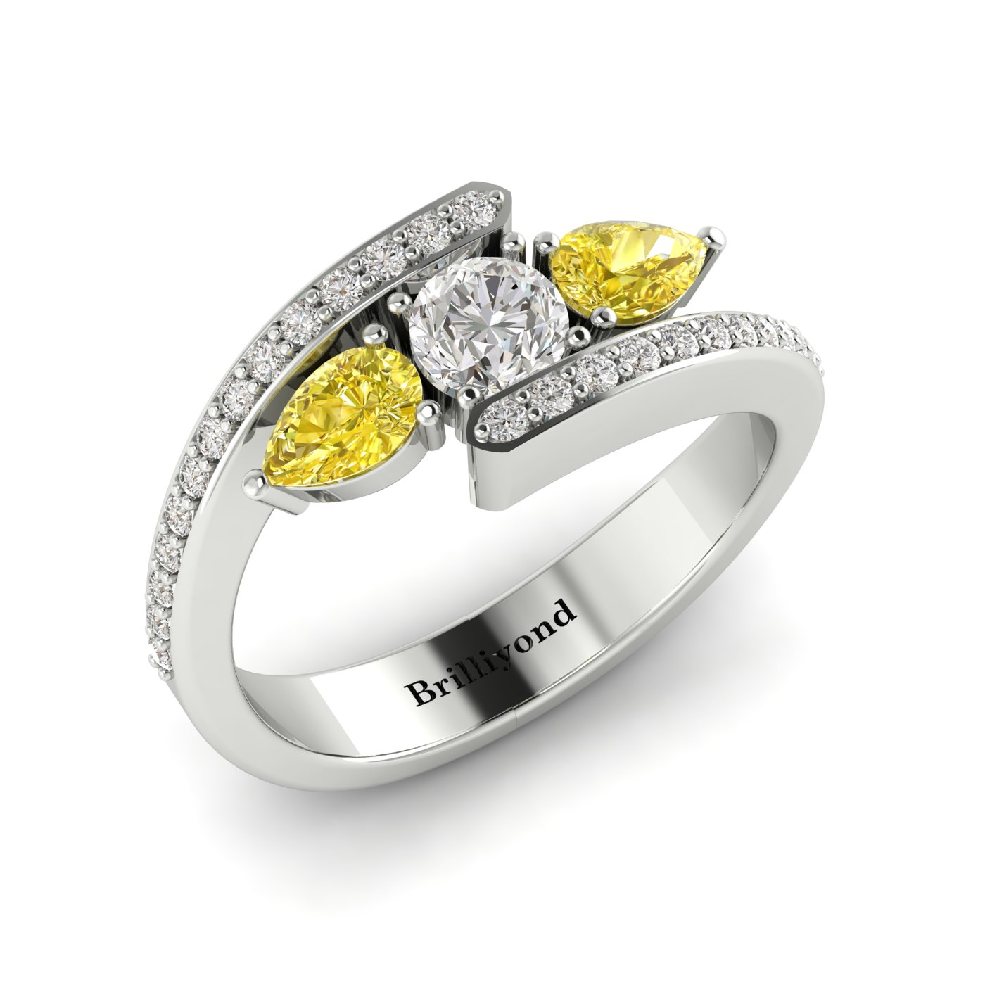 Diamond Yellow Sapphire Platinum Colour Accented Engagement Ring Naiad_image2