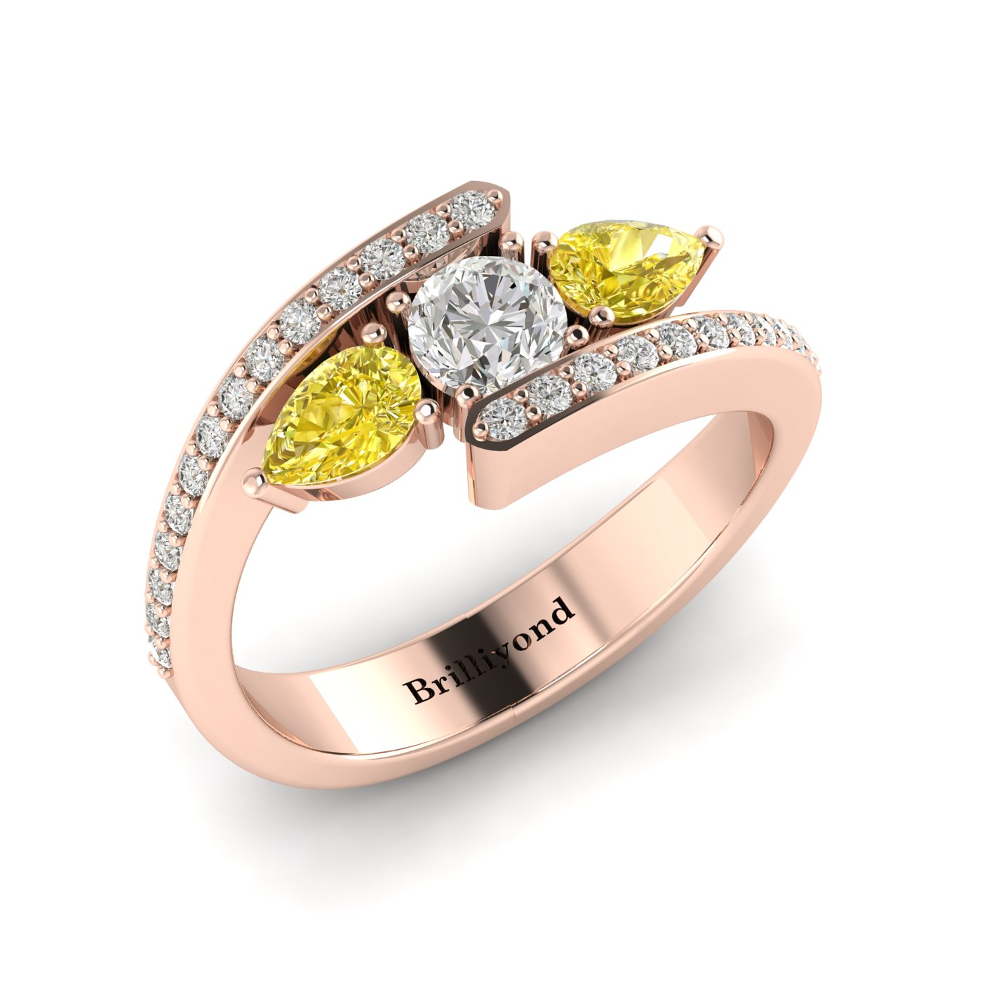 Diamond Yellow Sapphire Rose Gold Colour Accented Engagement Ring Naiad_image1