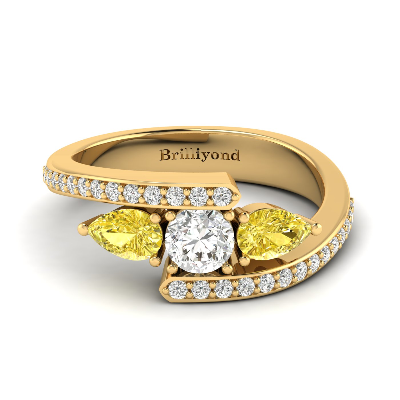 Diamond Yellow Sapphire Yellow Gold Colour Accented Engagement Ring Naiad_image1