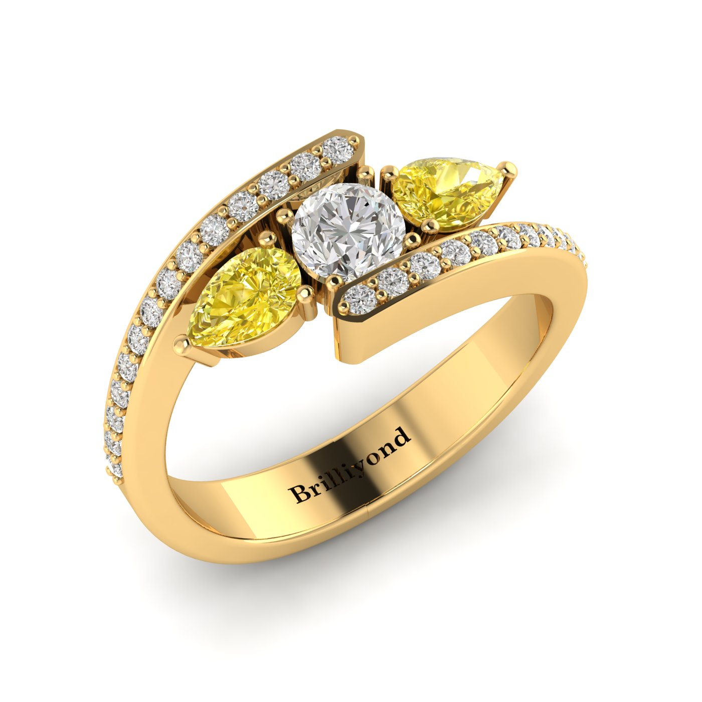 Diamond Yellow Sapphire Yellow Gold Colour Accented Engagement Ring Naiad_image2