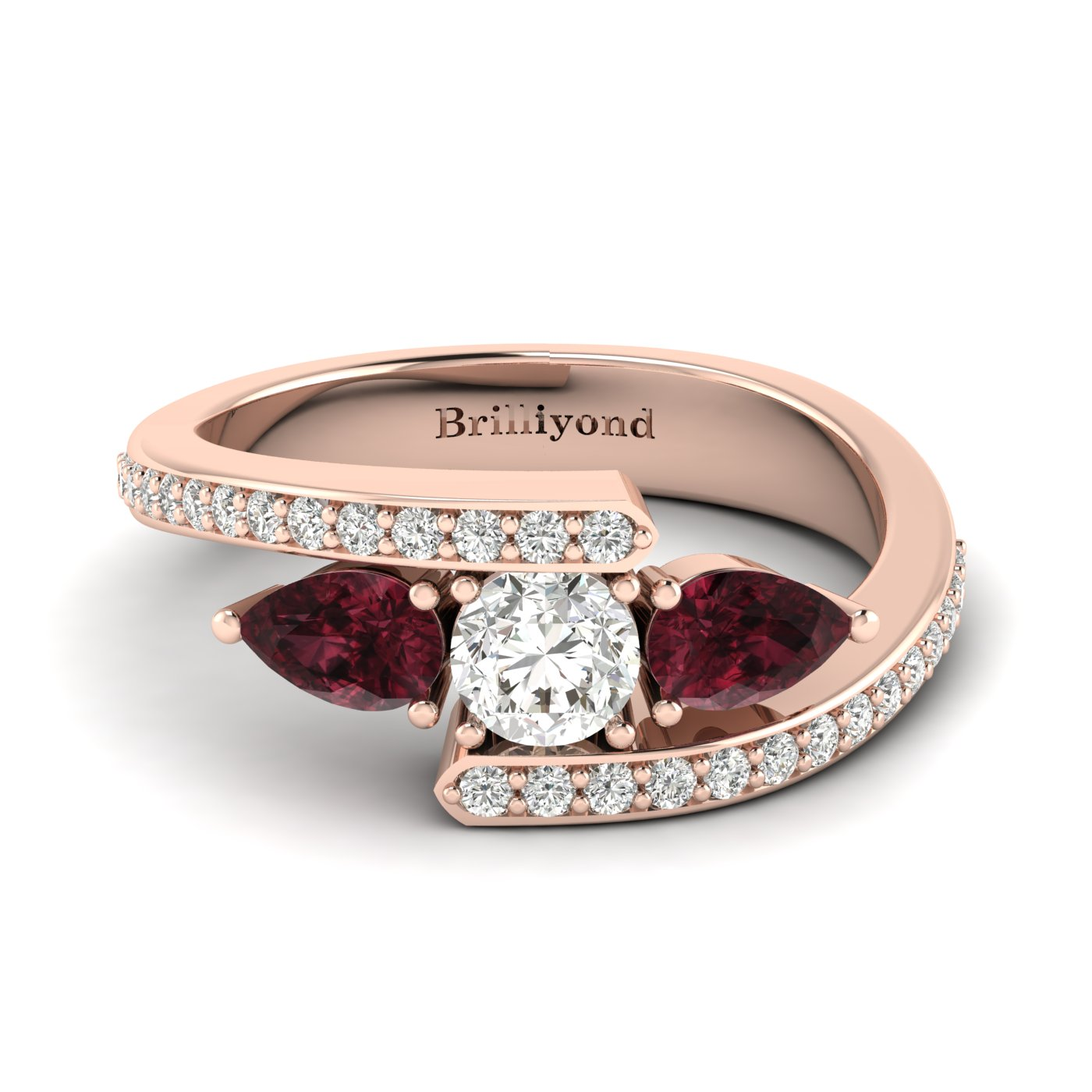 Diamond Garnet Rose Gold Colour Accented Engagement Ring Naiad_image1