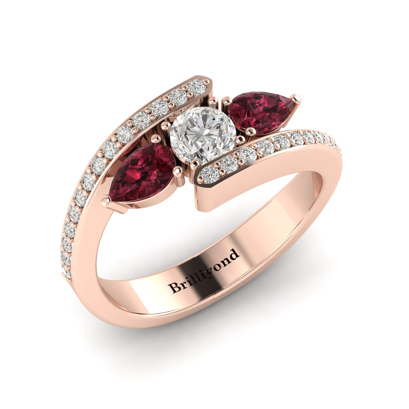 Diamond Garnet Rose Gold Colour Accented Engagement Ring Naiad
