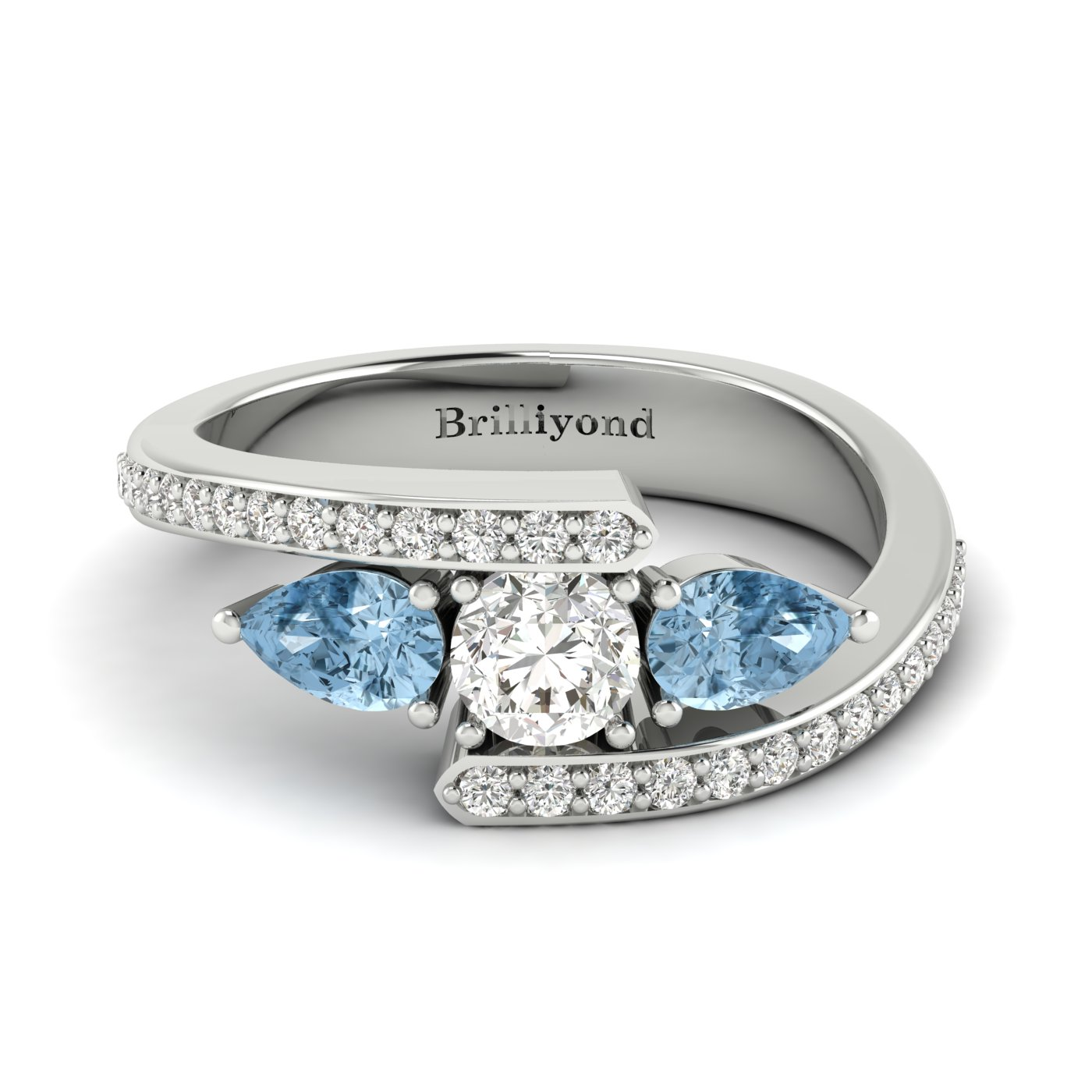 Diamond Aquamarine White Gold Colour Accented Engagement Ring Naiad_image1