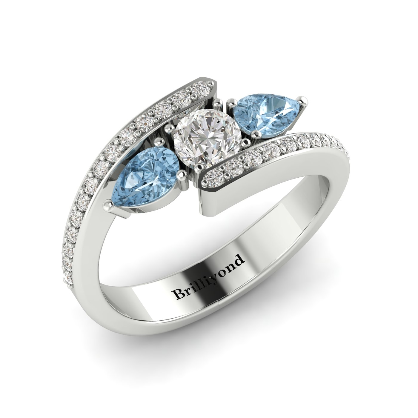 Diamond Aquamarine White Gold Colour Accented Engagement Ring Naiad_image2