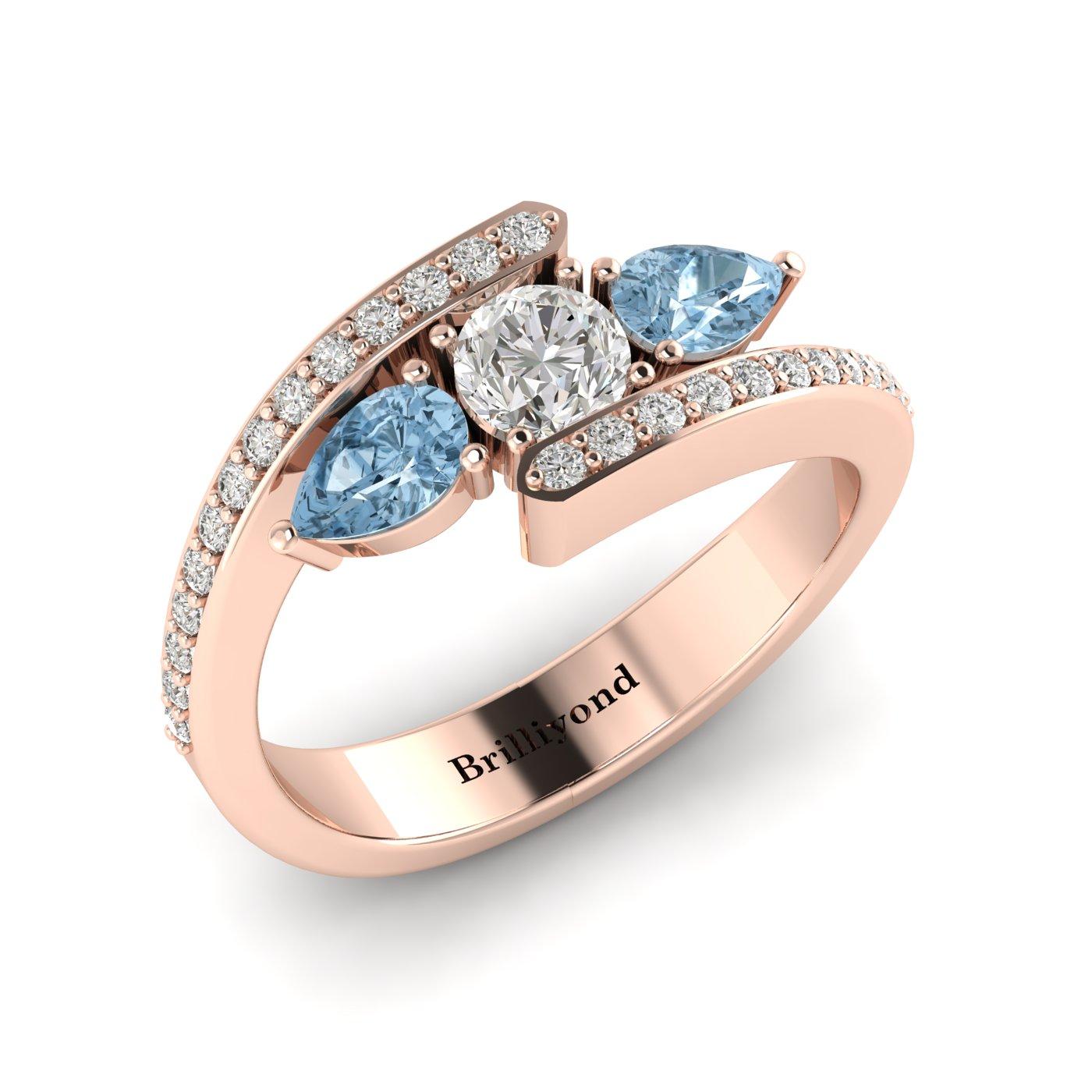 Diamond Aquamarine Rose Gold Colour Accented Engagement Ring Naiad_image1
