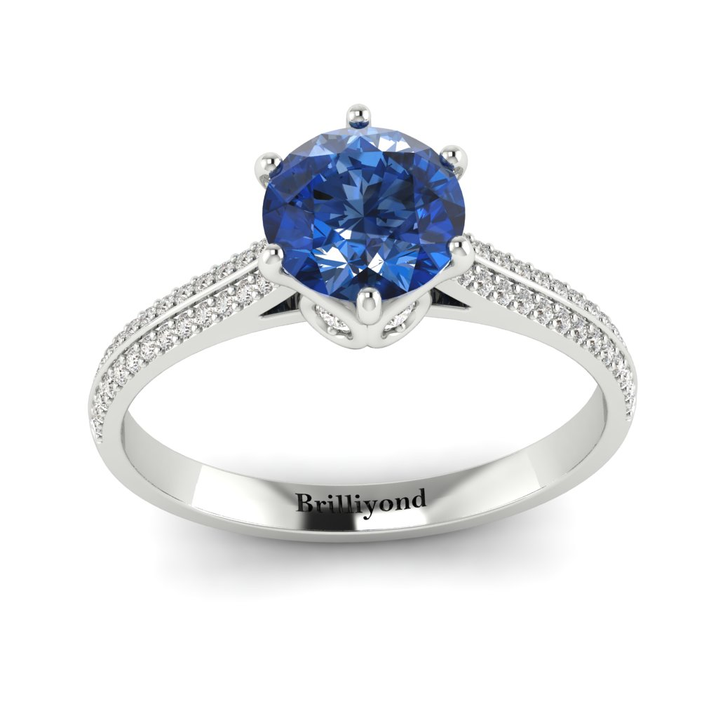 Blue Sapphire White Gold Round Engagement Ring Theia_image3
