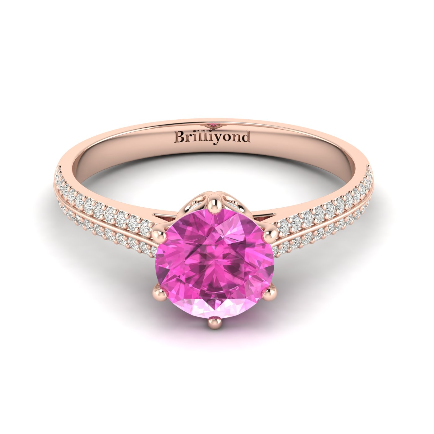 Pink Sapphire Rose Gold Round Engagement Ring Theia_image1