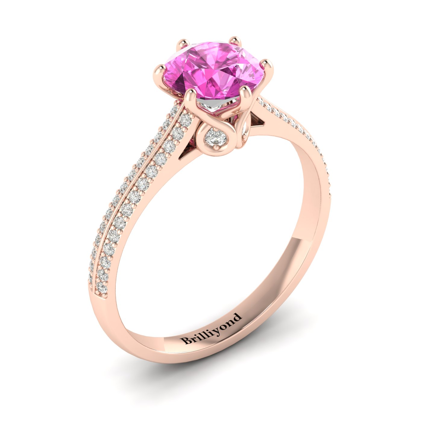 Pink Sapphire Rose Gold Round Engagement Ring Theia_image2