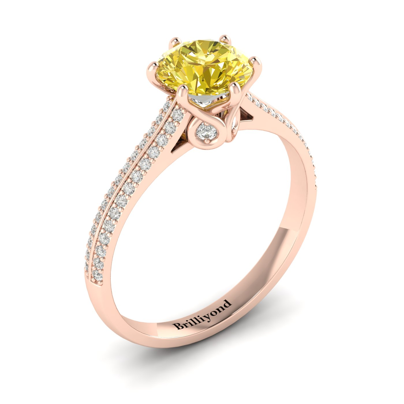 Yellow Sapphire Rose Gold Round Engagement Ring Theia_image1
