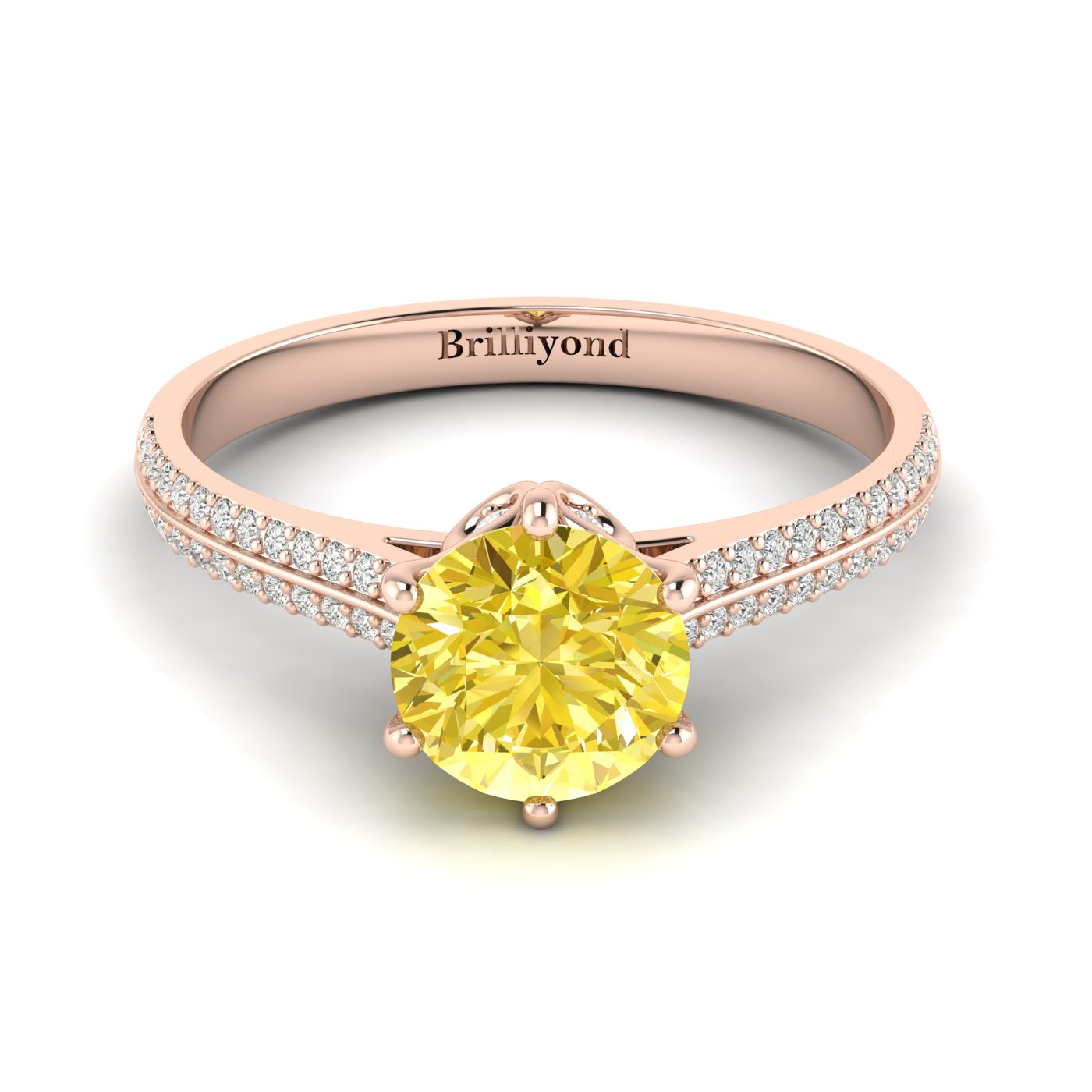 Yellow Sapphire Rose Gold Round Engagement Ring Theia_image2