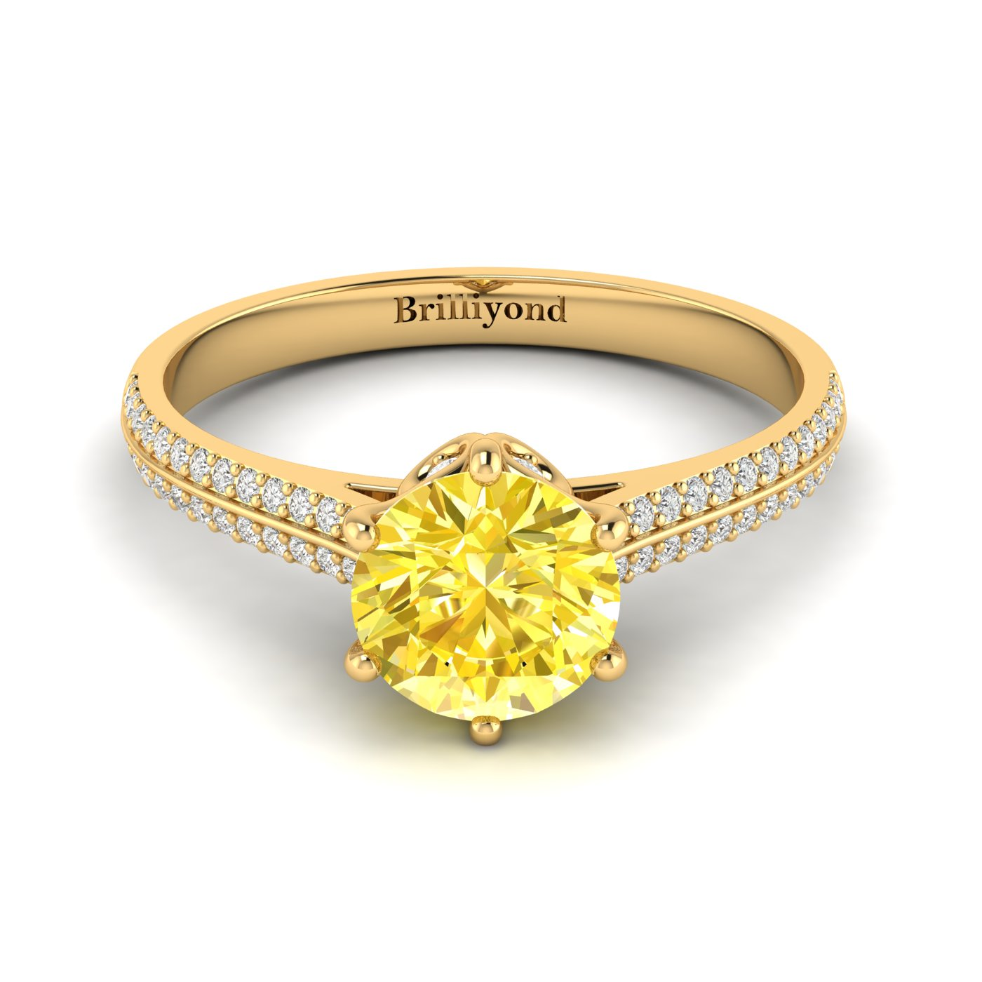 Yellow Sapphire Yellow Gold Round Engagement Ring Theia_image1