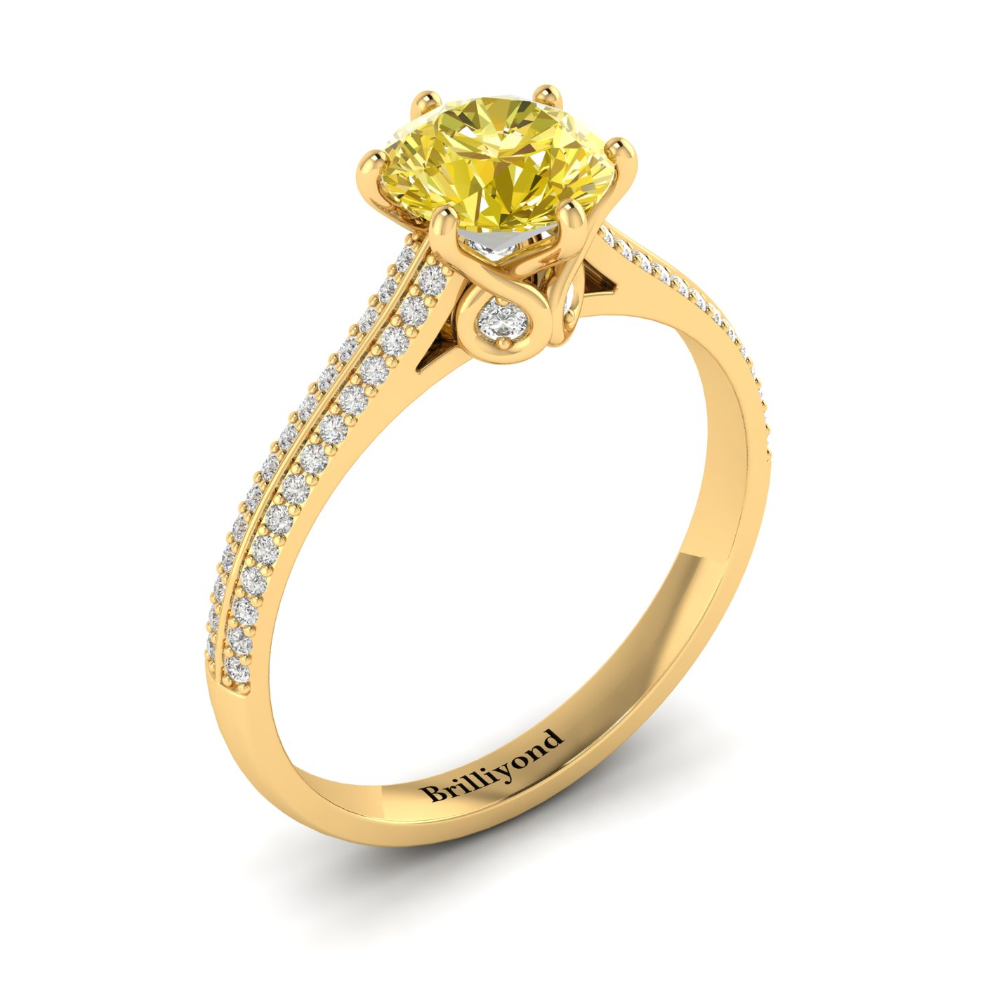 Yellow Sapphire Yellow Gold Round Engagement Ring Theia_image2