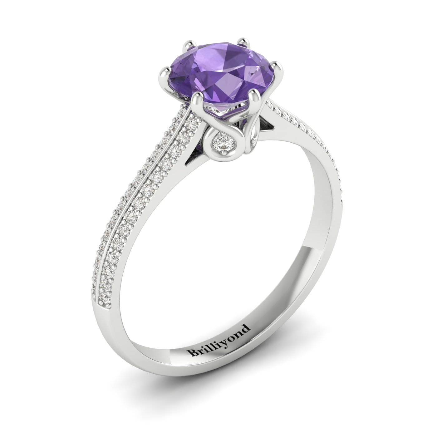 Amethyst White Gold Round Engagement Ring Theia_image2