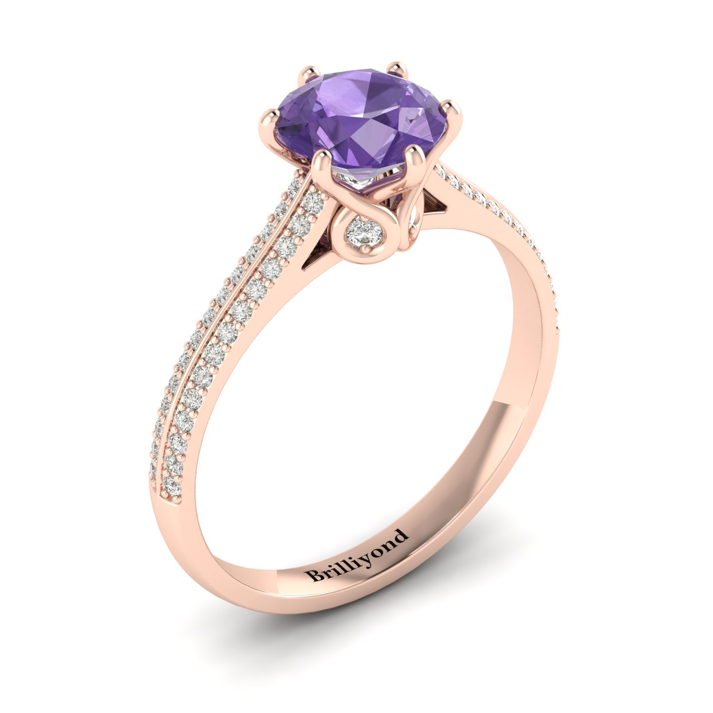 Amethyst Rose Gold Round Engagement Ring Theia_image1