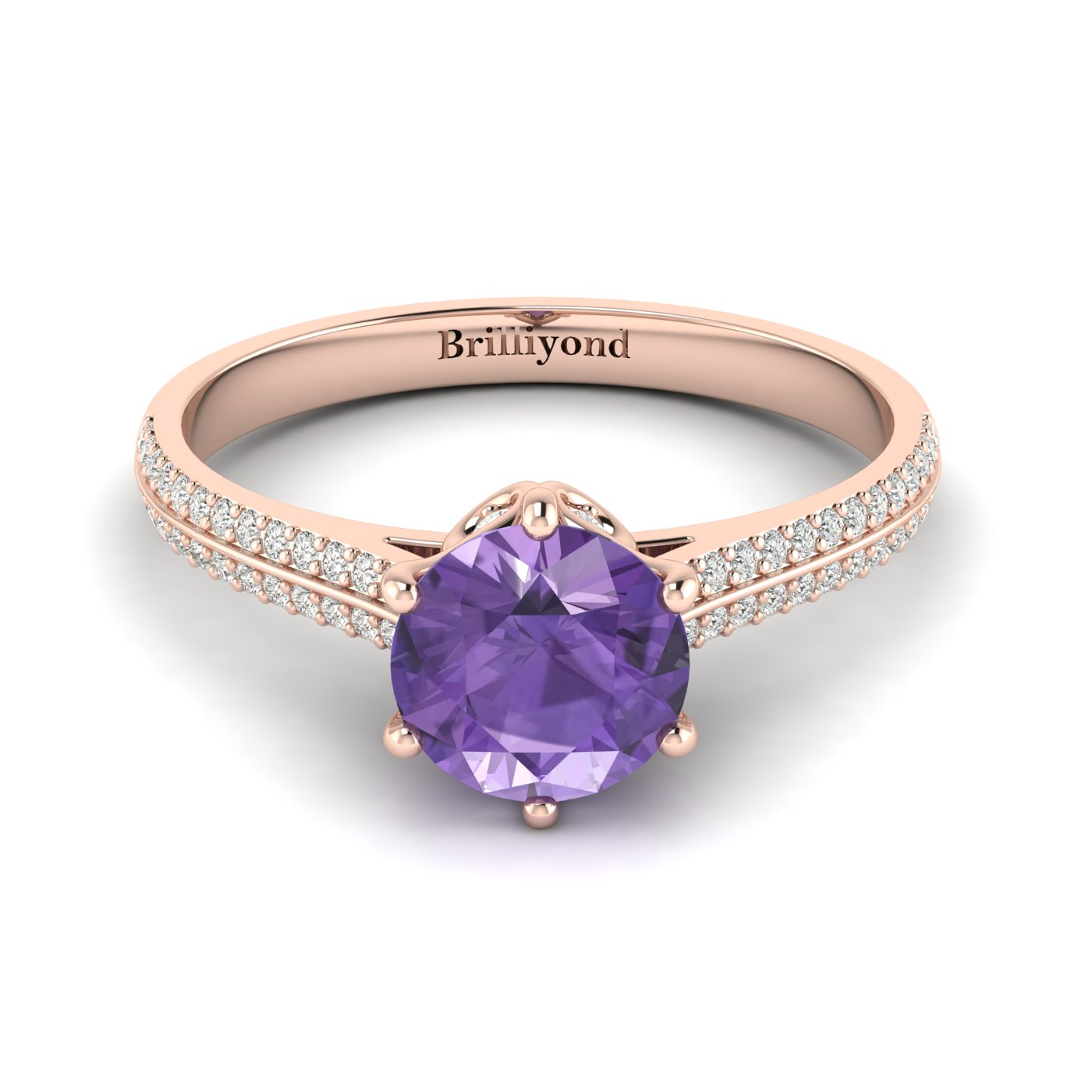 Amethyst Rose Gold Round Engagement Ring Theia_image2