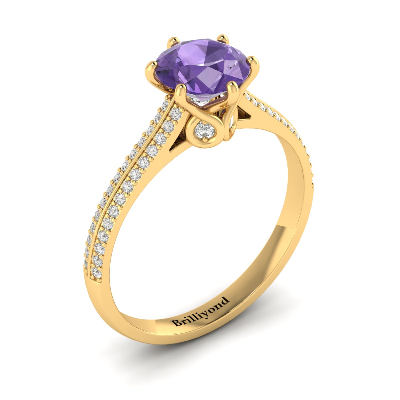 Amethyst Yellow Gold Round Engagement Ring Theia_image2
