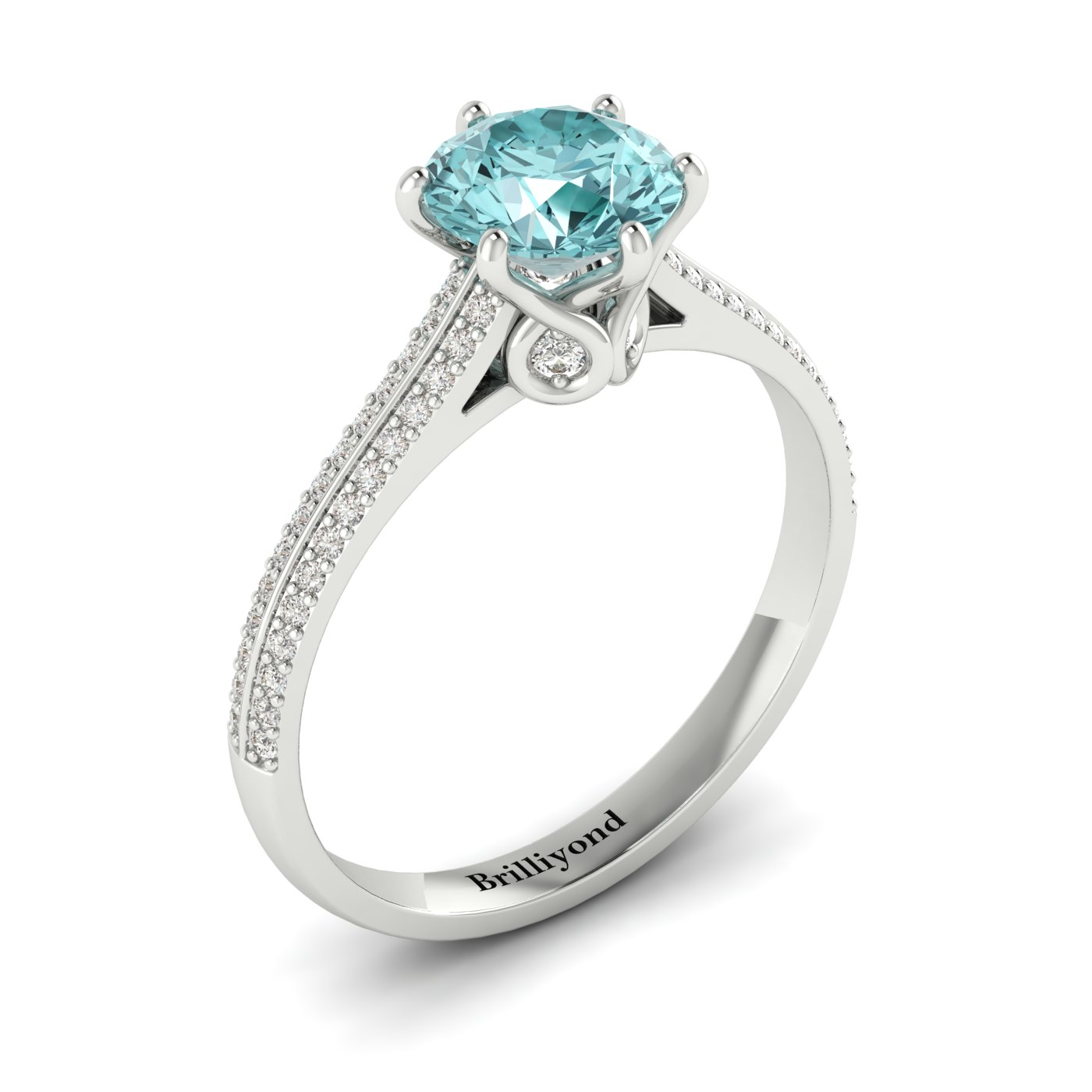 Aquamarine White Gold Round Engagement Ring Theia_image1