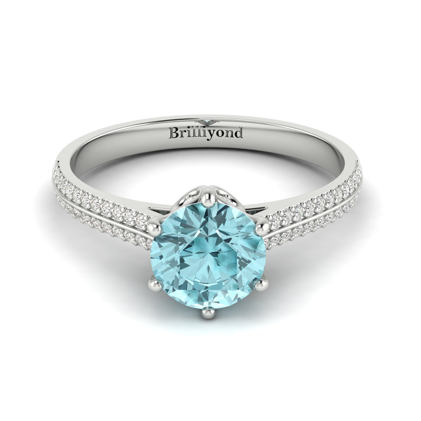 Aquamarine White Gold Round Engagement Ring Theia_image2