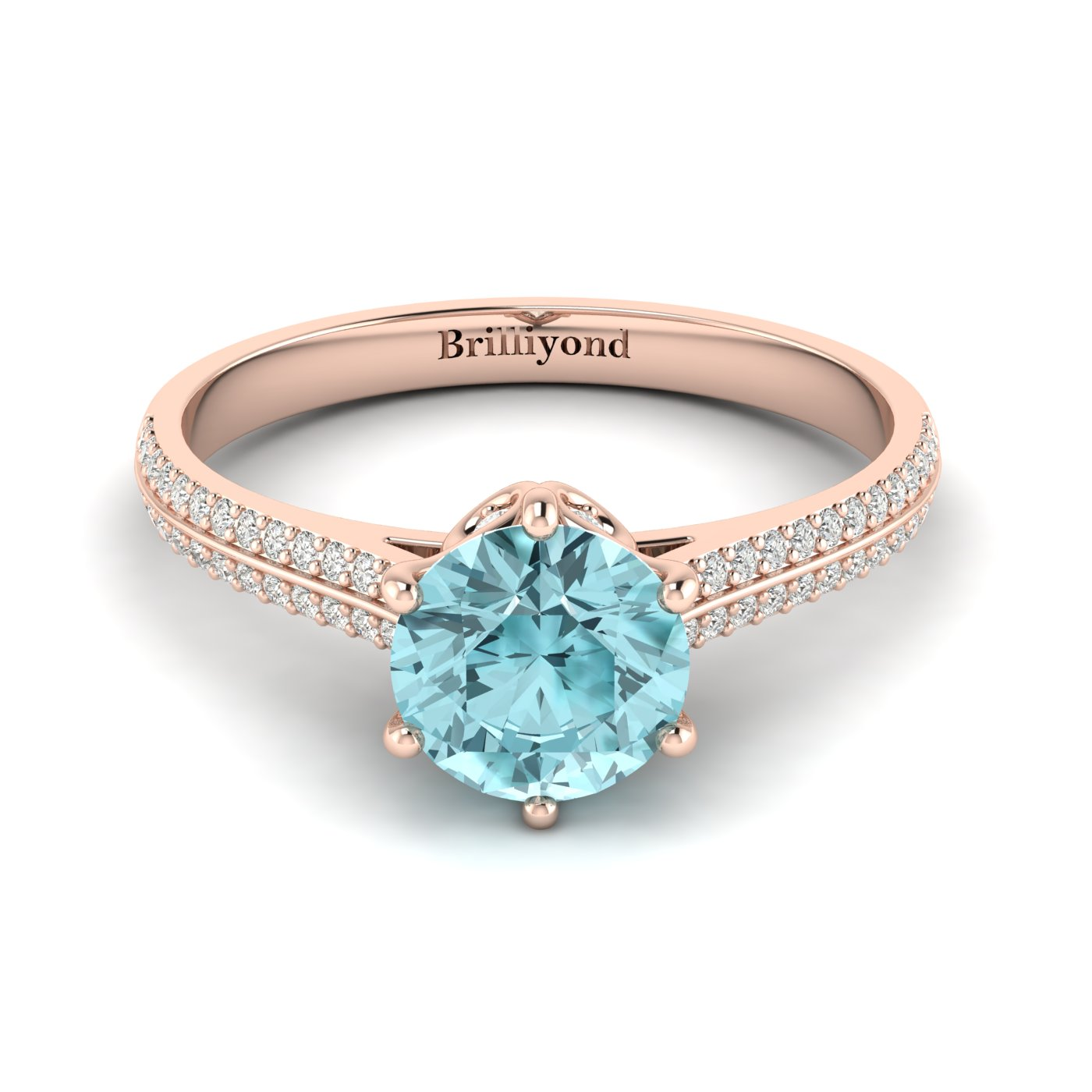 Aquamarine Rose Gold Round Engagement Ring Theia_image1