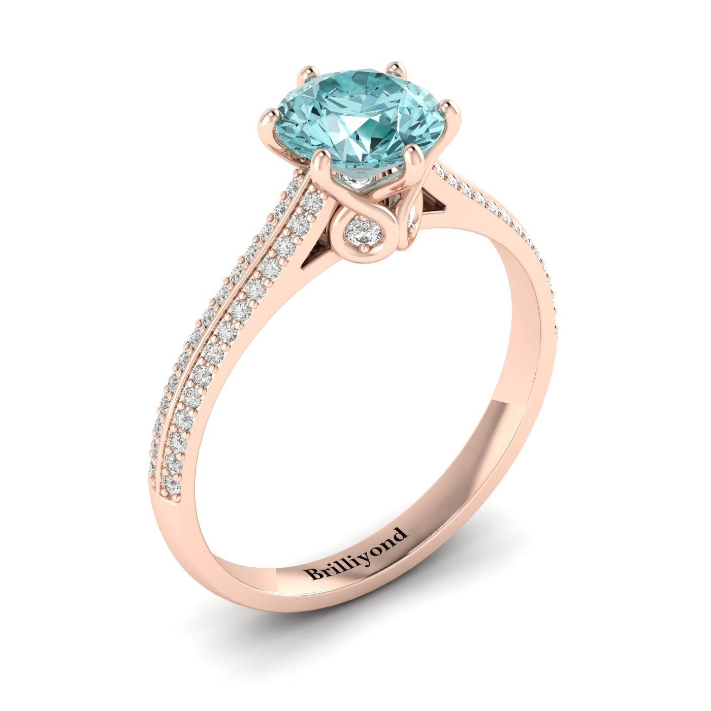 Aquamarine Rose Gold Round Engagement Ring Theia_image2