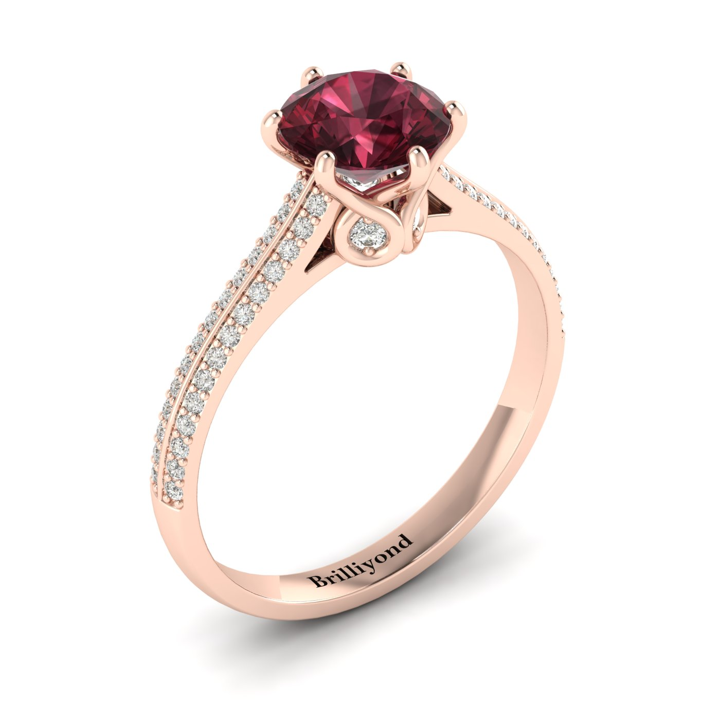 6.5mm Garnet on 6 Prongs with CZ Accents