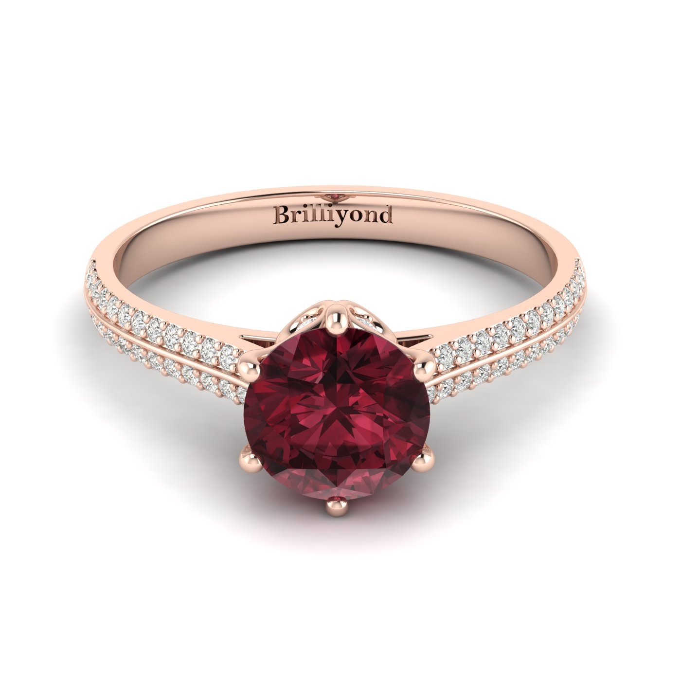 18k Rose Gold Band with CZ Accents and Garnet Centre Stone
