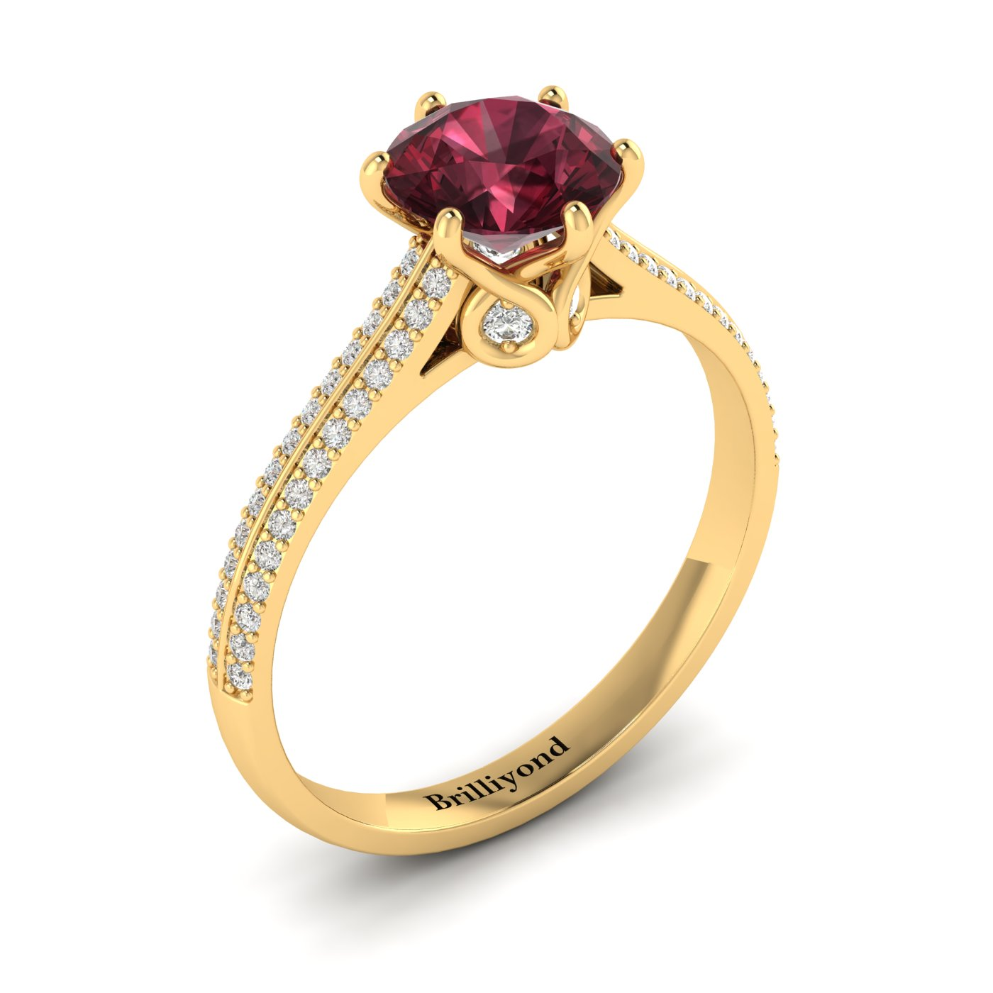 Garnet Yellow Gold Round Engagement Ring Theia_image2
