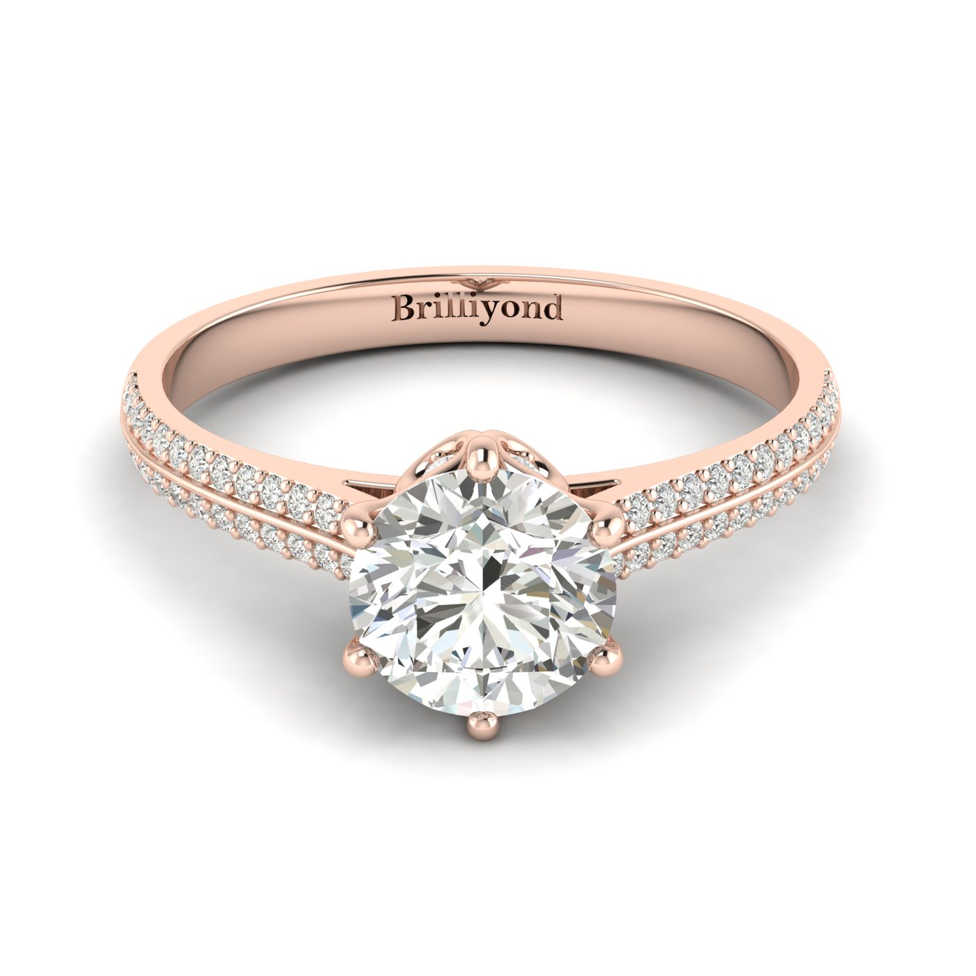 White Sapphire Rose Gold Round Engagement Ring Theia_image1