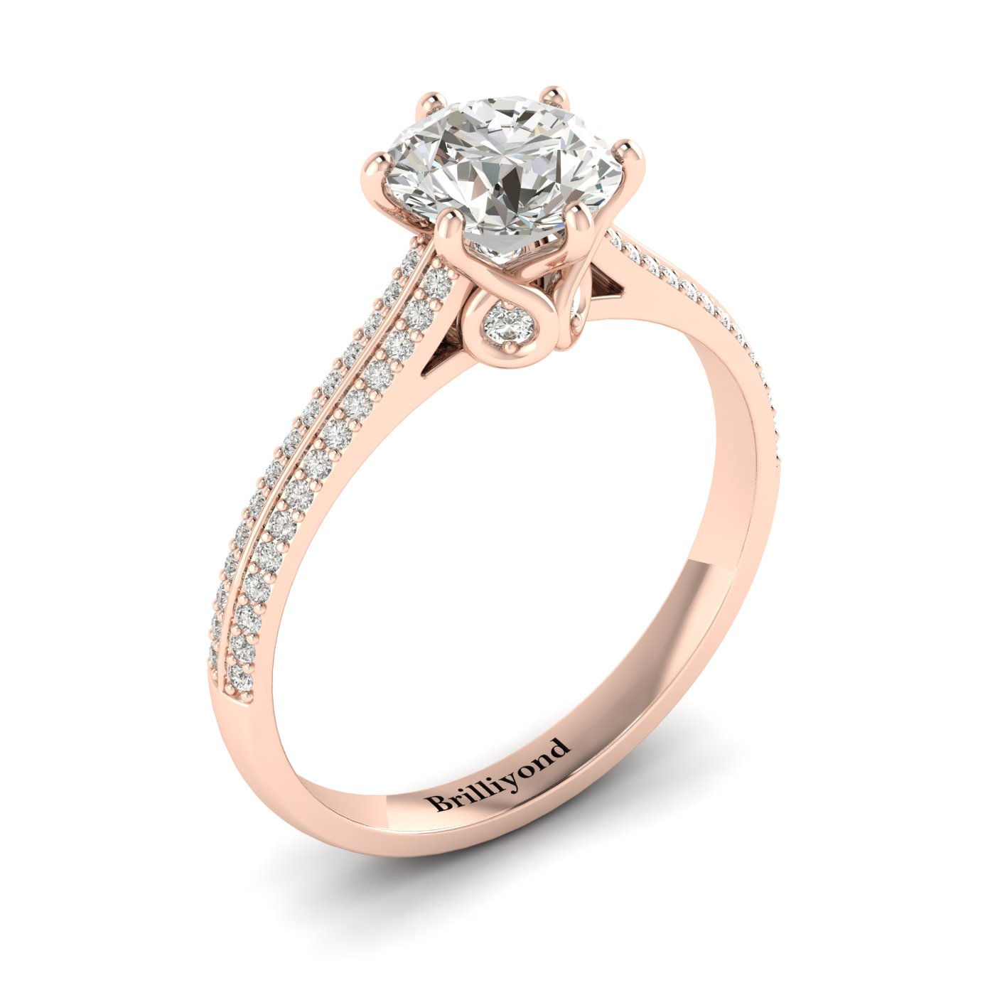 White Sapphire Rose Gold Round Engagement Ring Theia_image2