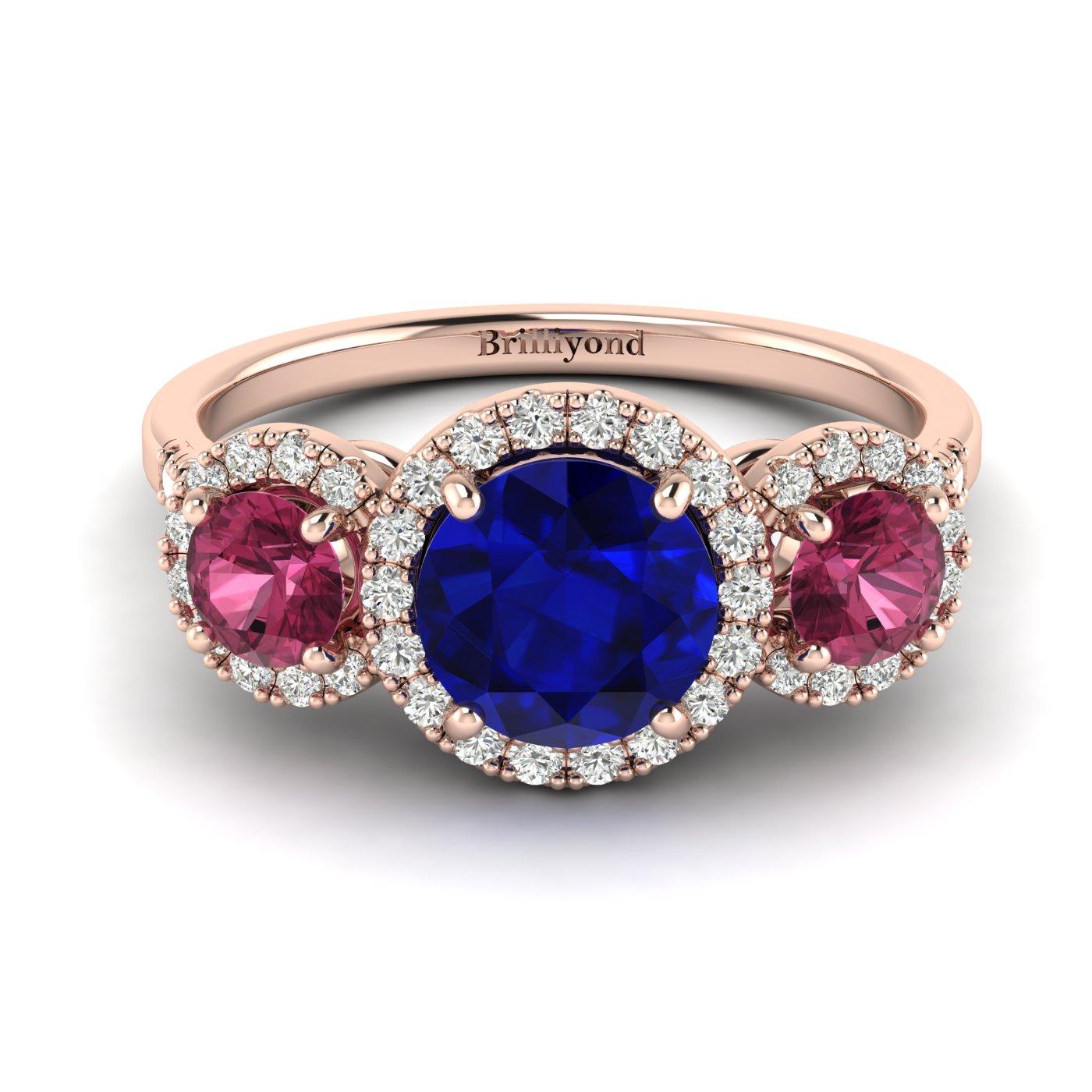 Blue Sapphire Rose Gold Three Stone Engagement Ring Springtime_image2