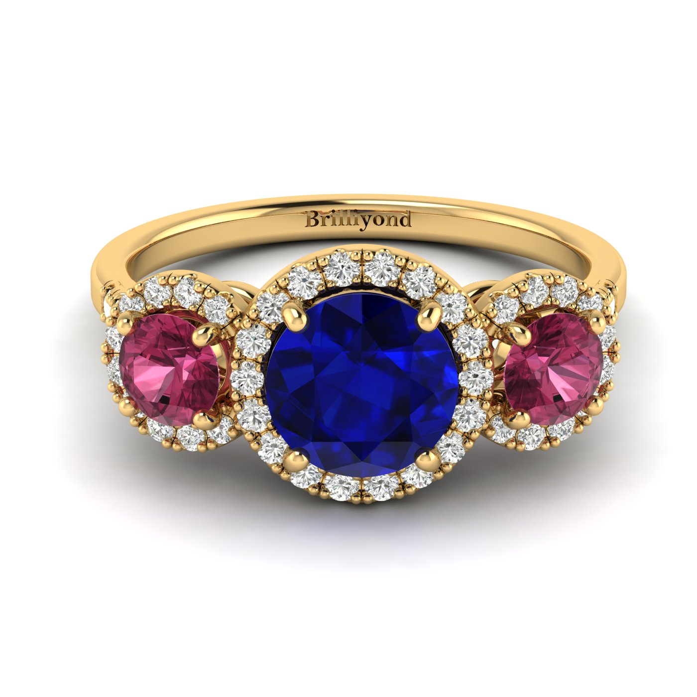 Blue Sapphire Yellow Gold Three Stone Engagement Ring Springtime_image1