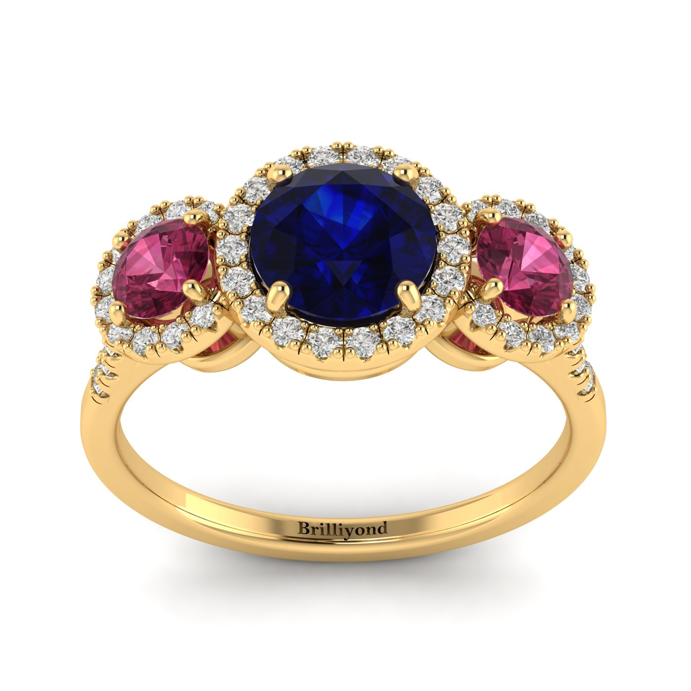 Blue Sapphire Yellow Gold Three Stone Engagement Ring Springtime_image2