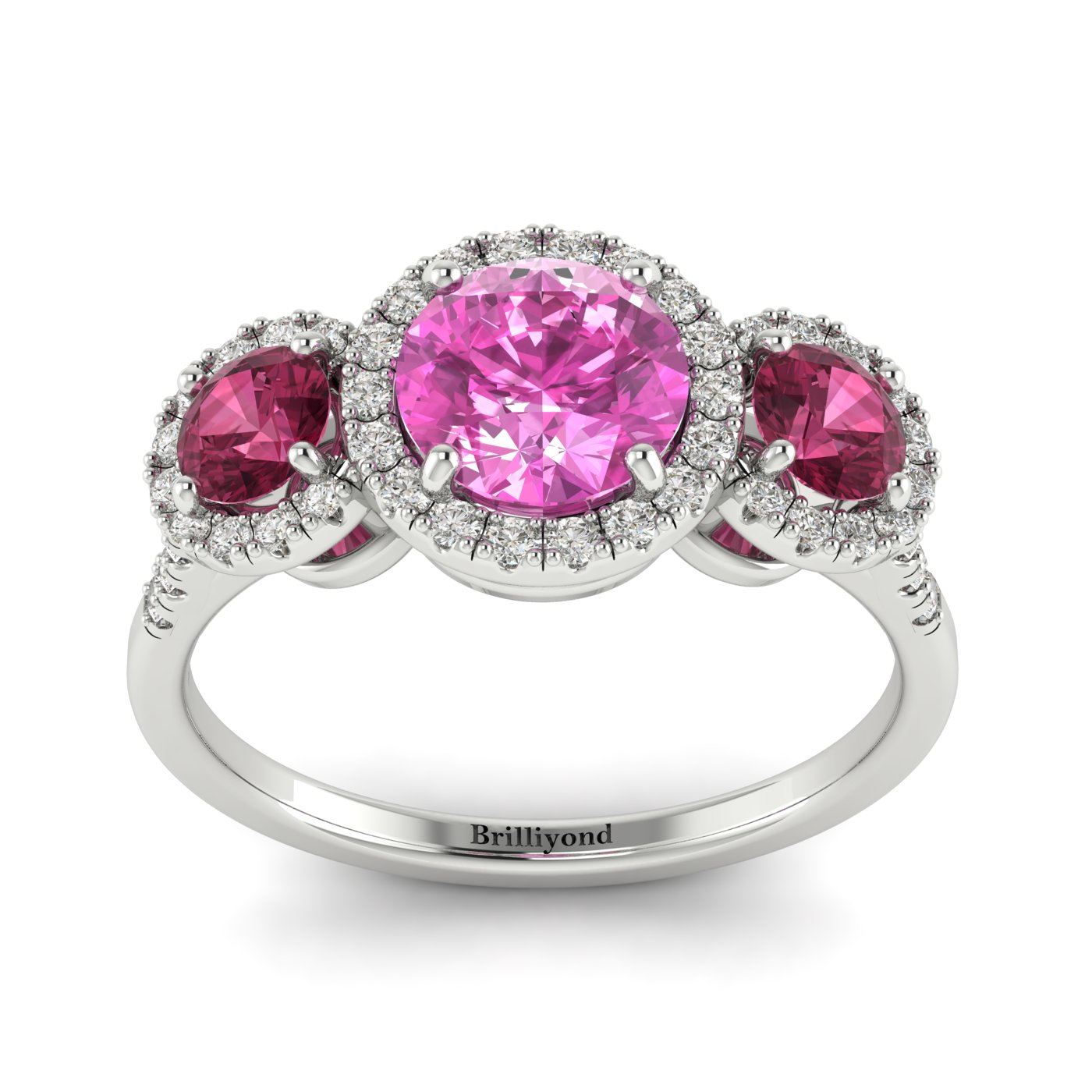 Pink Sapphire White Gold Three Stone Engagement Ring Springtime_image1