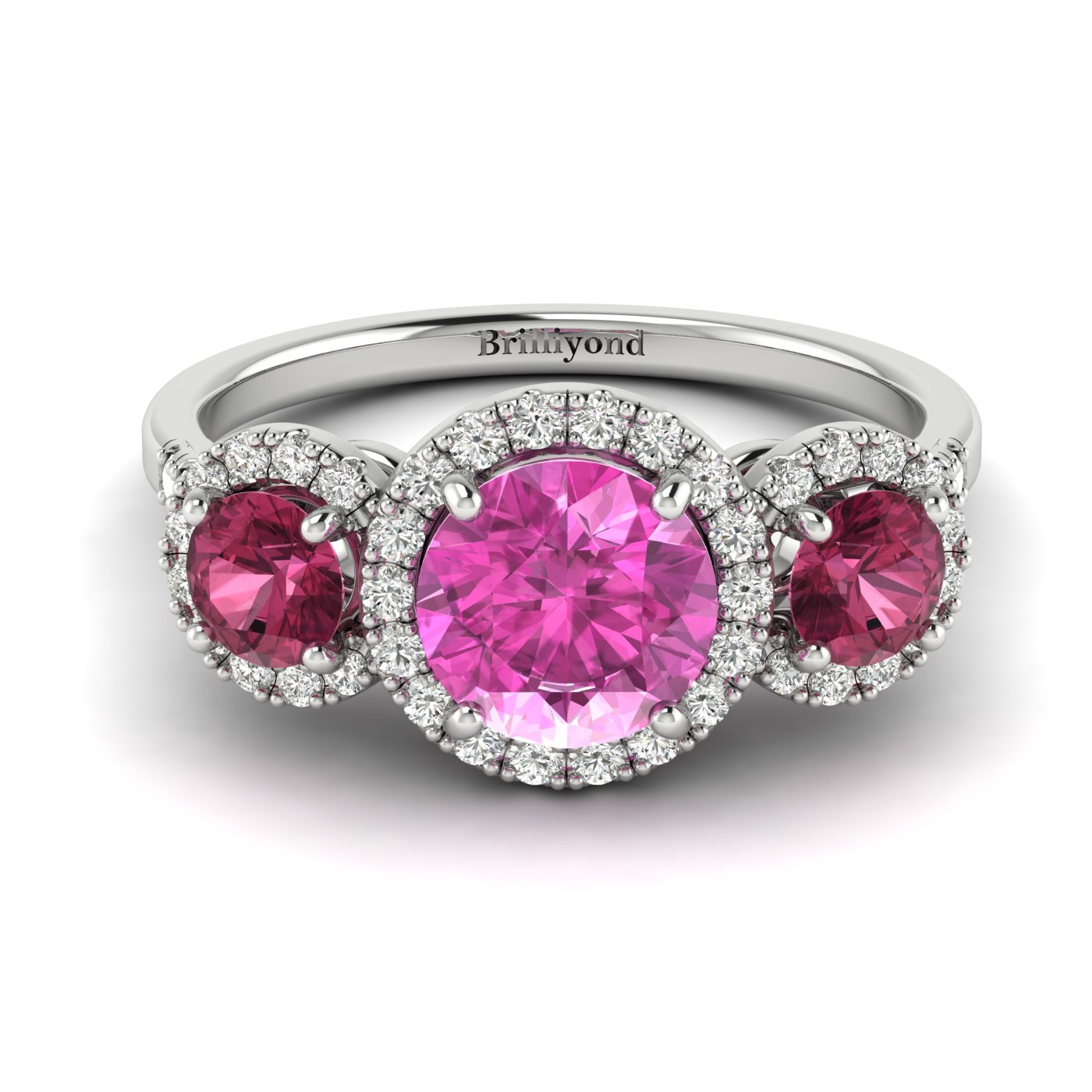 Pink Sapphire White Gold Three Stone Engagement Ring Springtime_image2