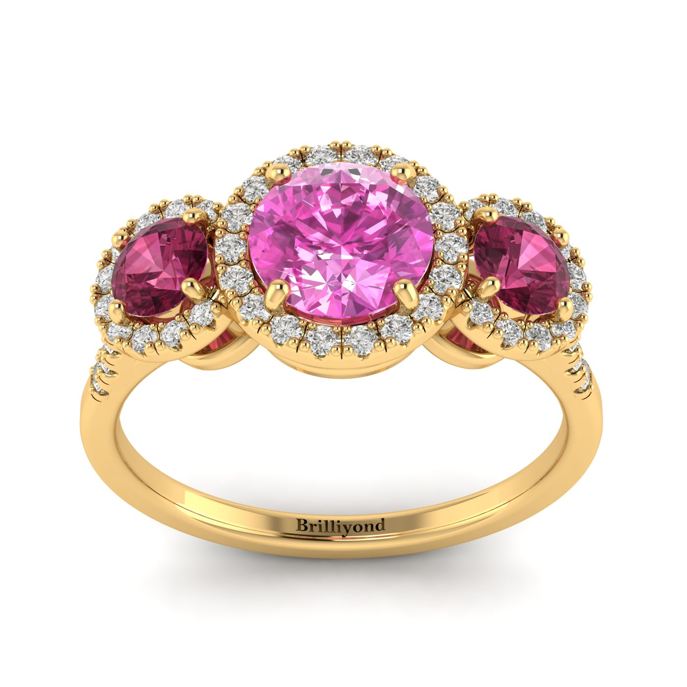 Diamond Accented Pink Sapphire and Garnet Three Stone Engagement Ring