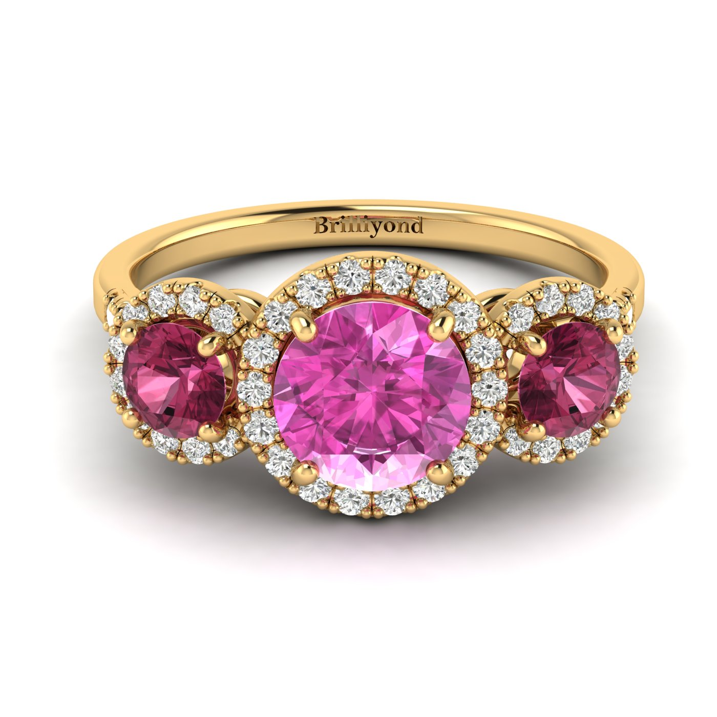 Solid 18k Yellow Gold Pink Sapphire and Garnet Three Stone Ring