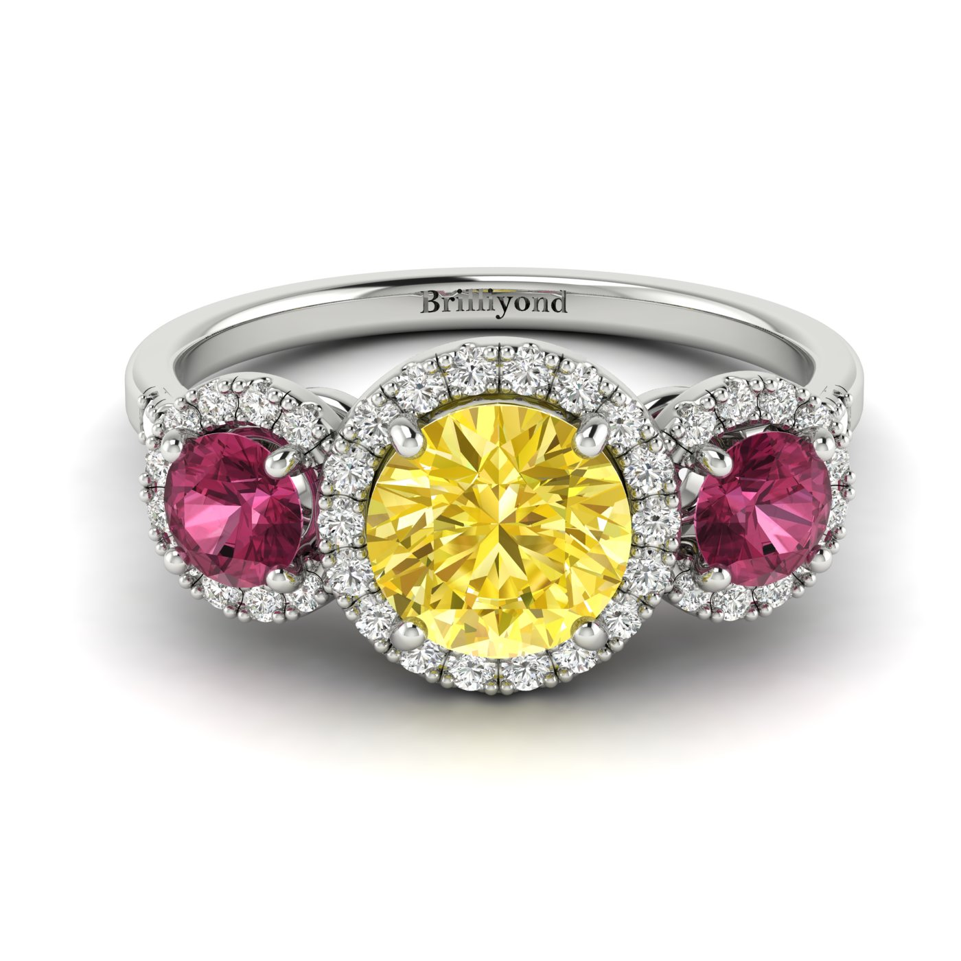 Yellow Sapphire White Gold Three Stone Engagement Ring Springtime_image1