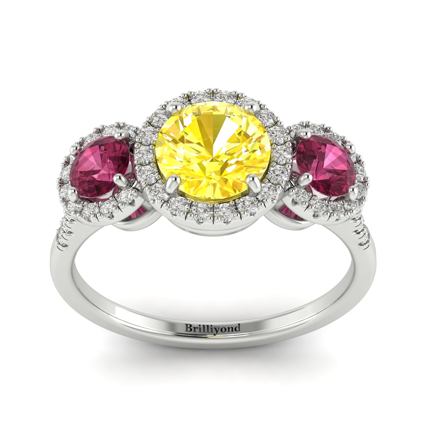 Yellow Sapphire White Gold Three Stone Engagement Ring Springtime_image2