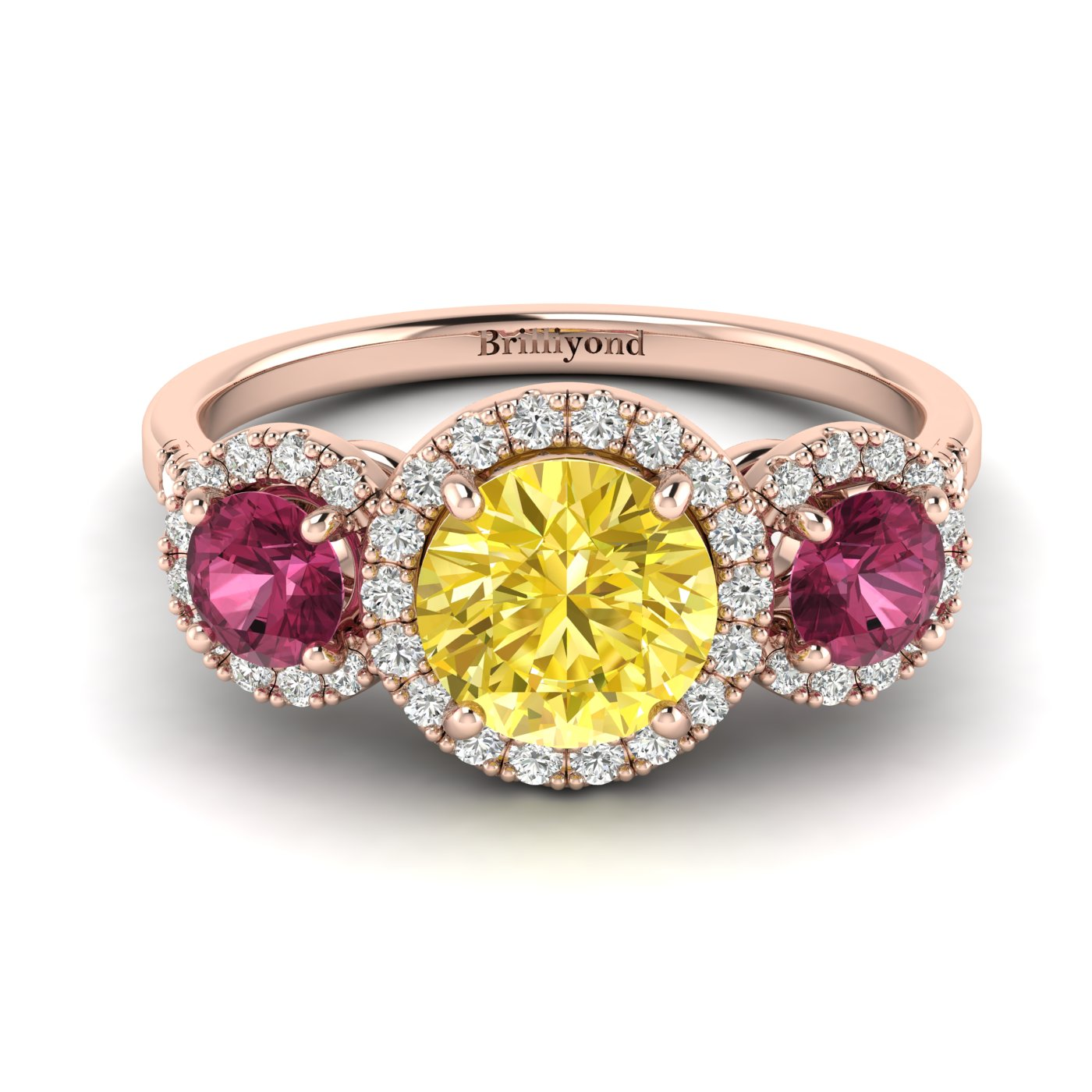 Yellow Sapphire Rose Gold Three Stone Engagement Ring Springtime_image2