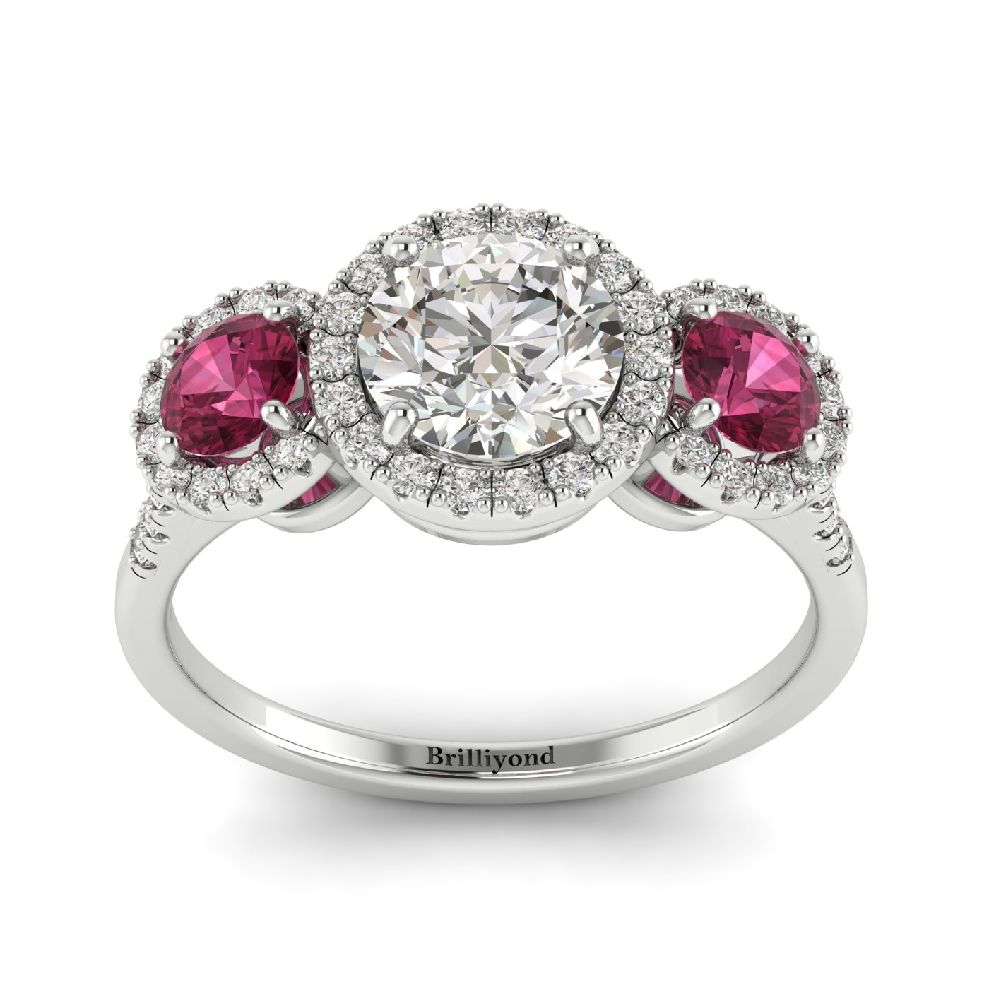 Diamond White Gold Three Stone Engagement Ring Springtime_image1