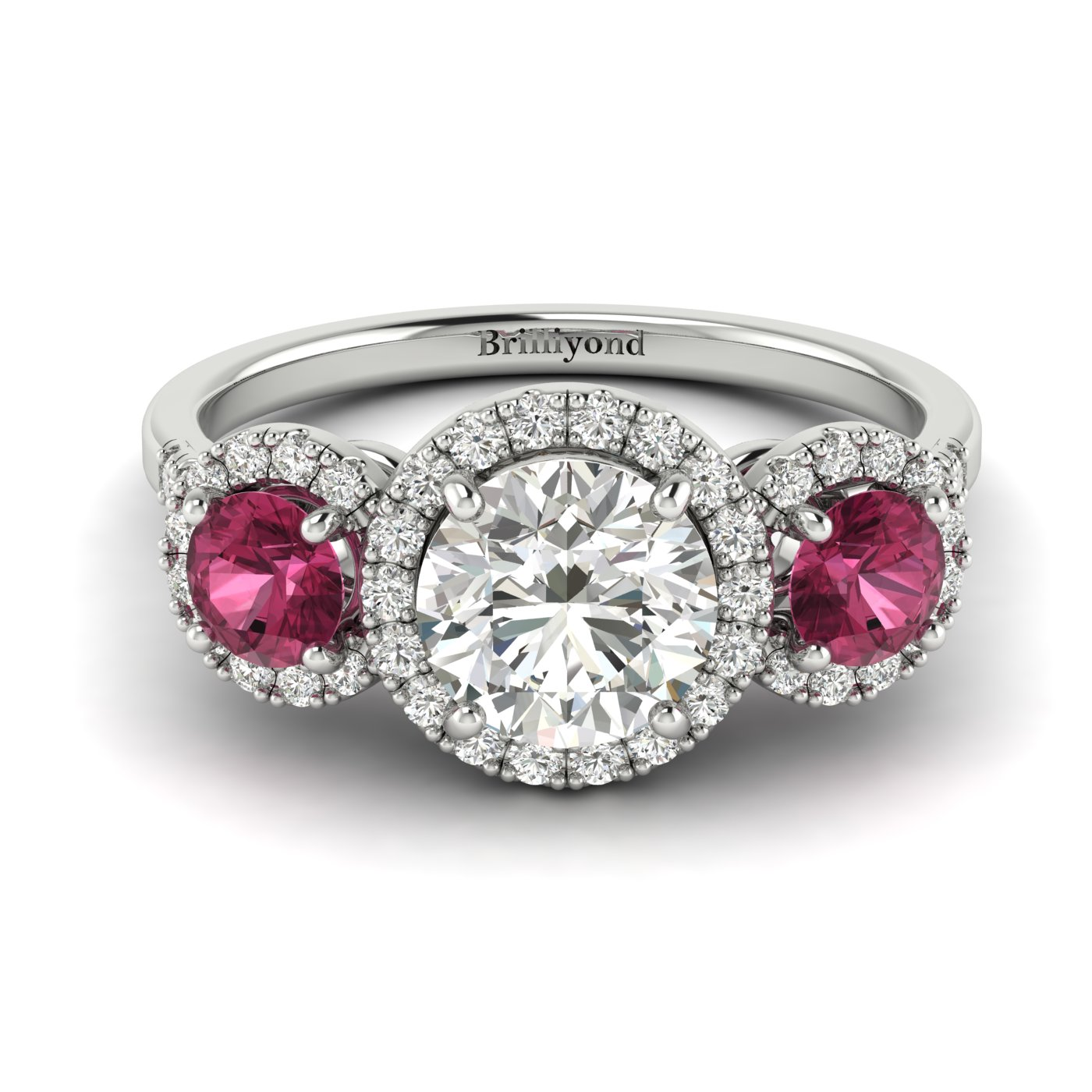 Diamond White Gold Three Stone Engagement Ring Springtime_image2