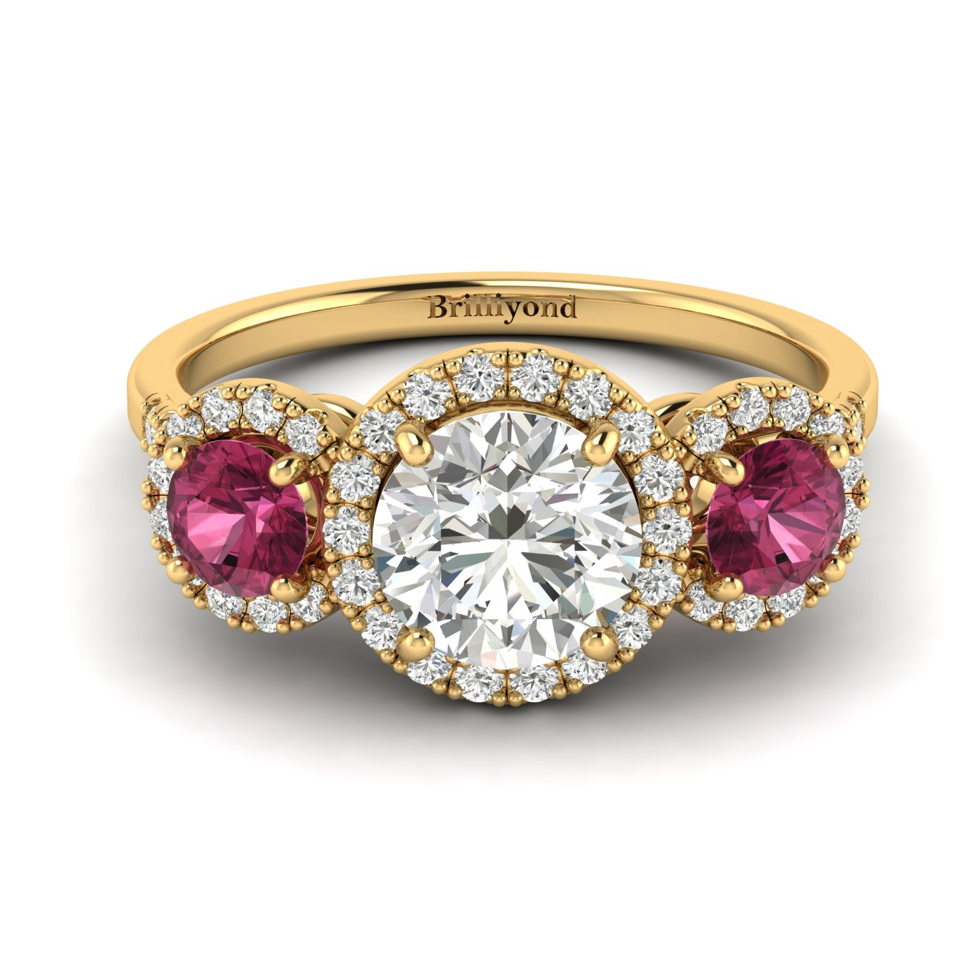 Diamond Yellow Gold Three Stone Engagement Ring Springtime
