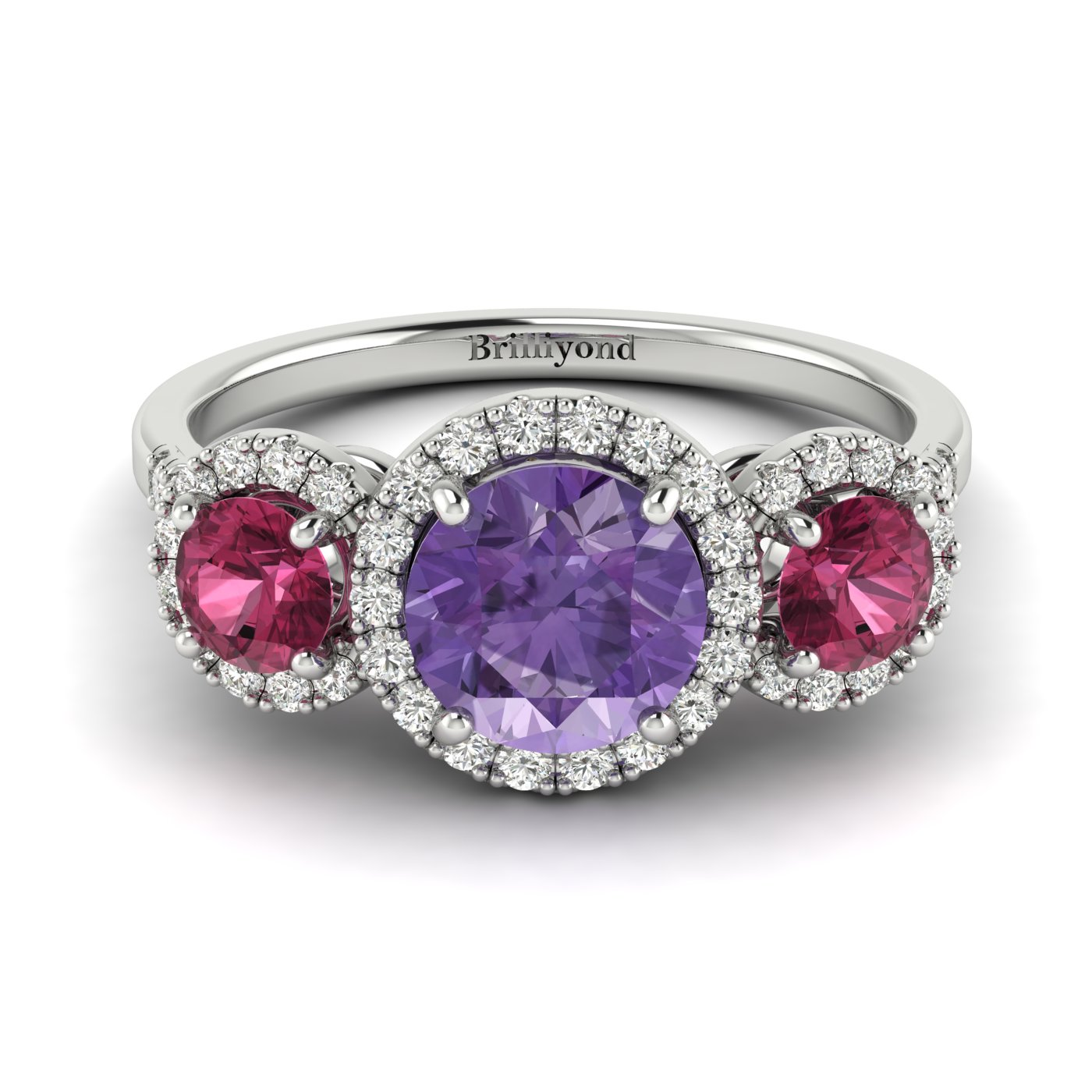 Amethyst White Gold Three Stone Engagement Ring Springtime_image1