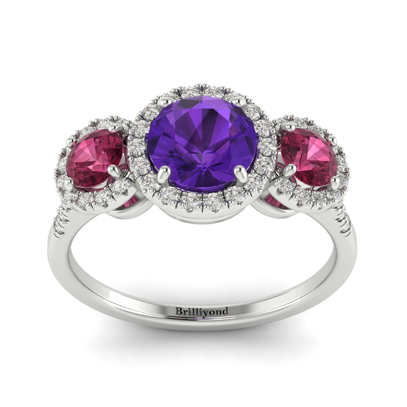 Amethyst White Gold Three Stone Engagement Ring Springtime_image2