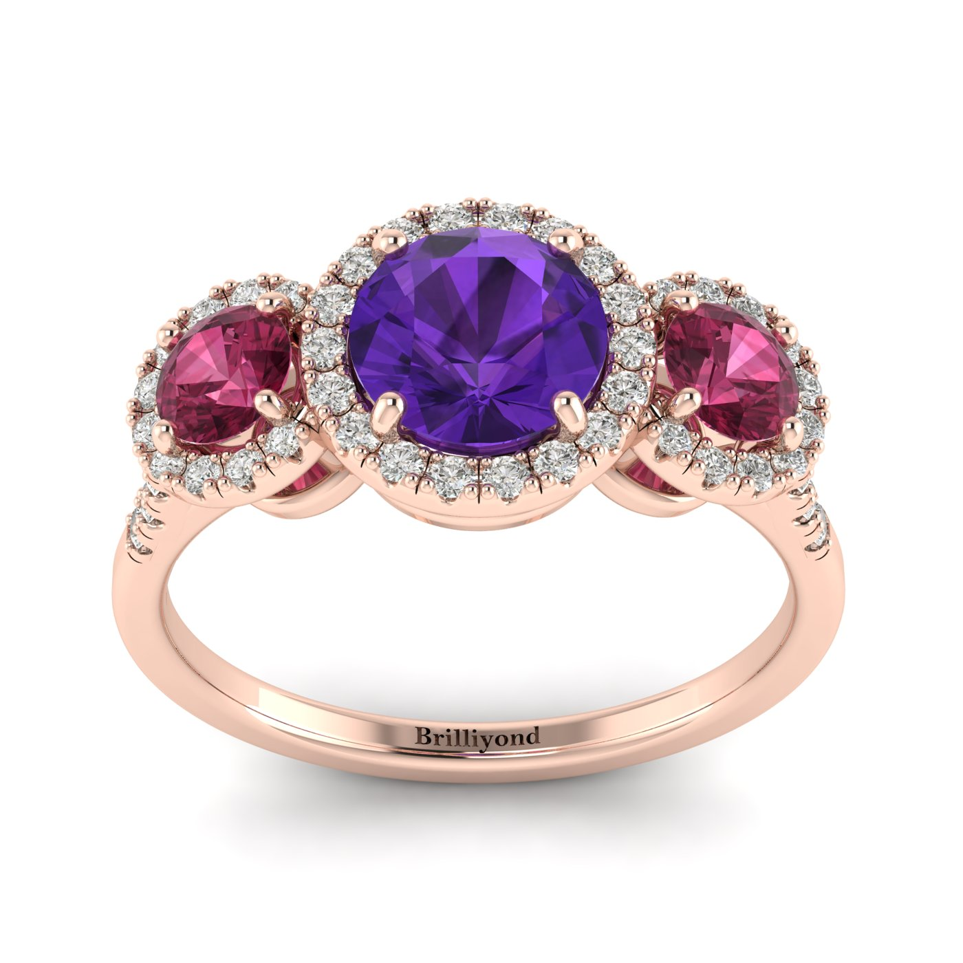 Amethyst Rose Gold Three Stone Engagement Ring Springtime_image1