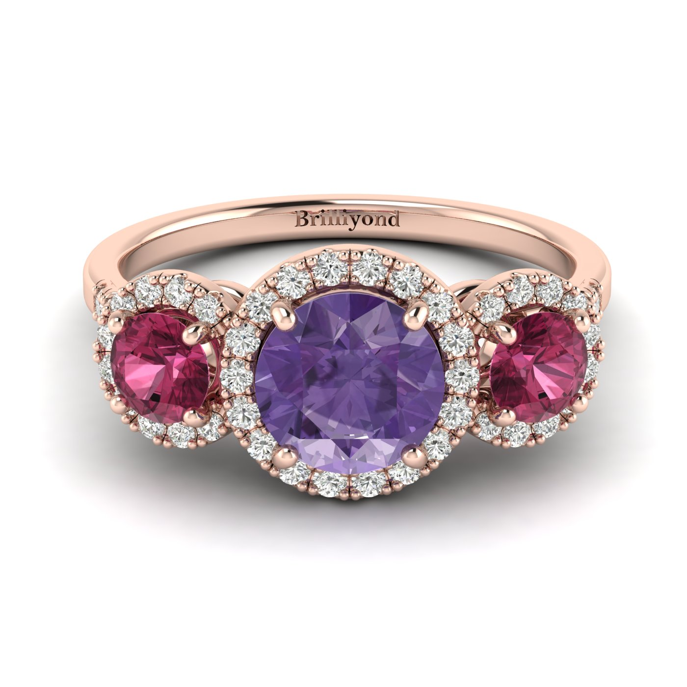 Amethyst Rose Gold Three Stone Engagement Ring Springtime_image2