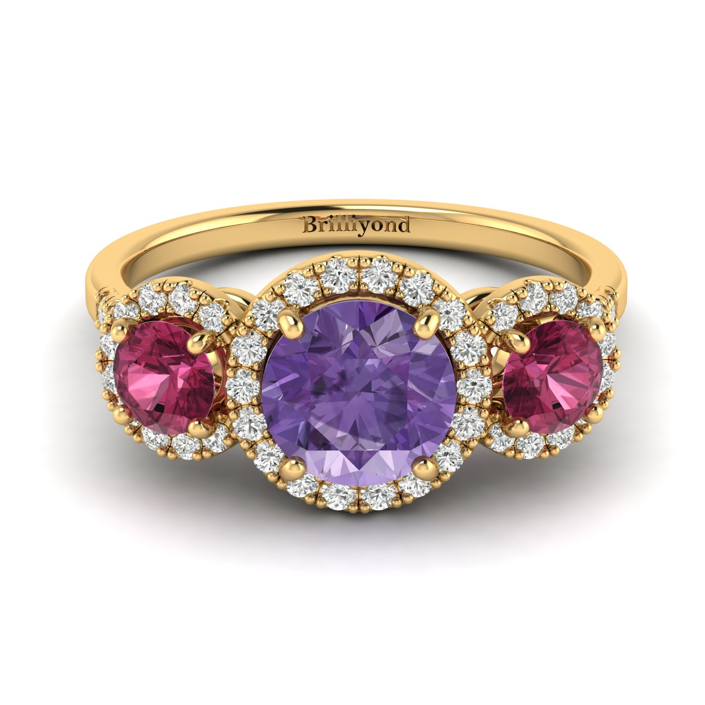 Amethyst Yellow Gold Three Stone Engagement Ring Springtime_image1