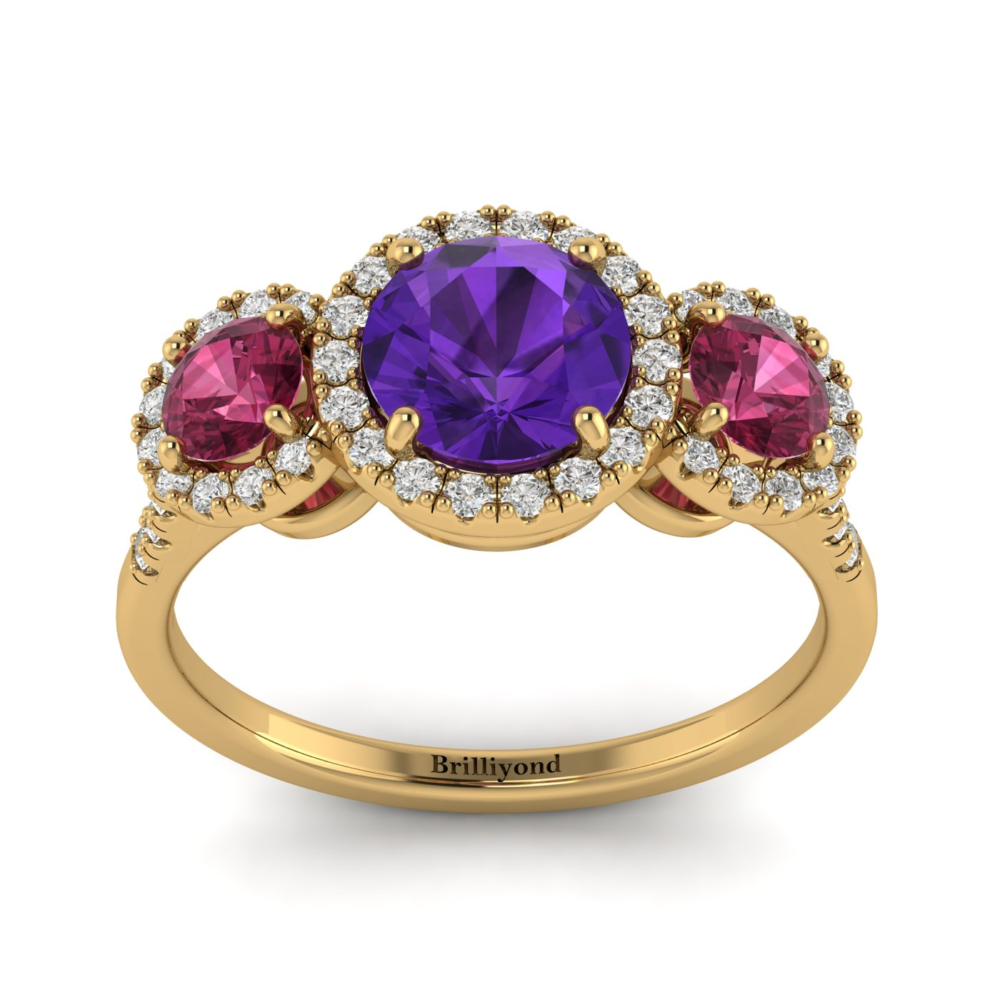 Amethyst Yellow Gold Three Stone Engagement Ring Springtime_image2