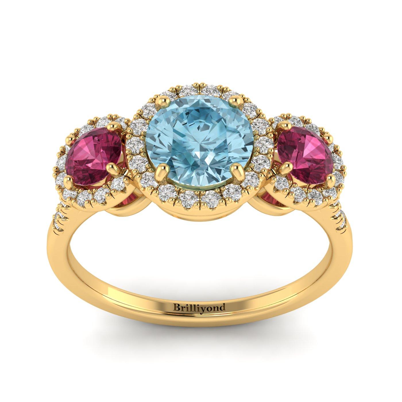 Aquamarine Yellow Gold Three Stone Engagement Ring Springtime_image1